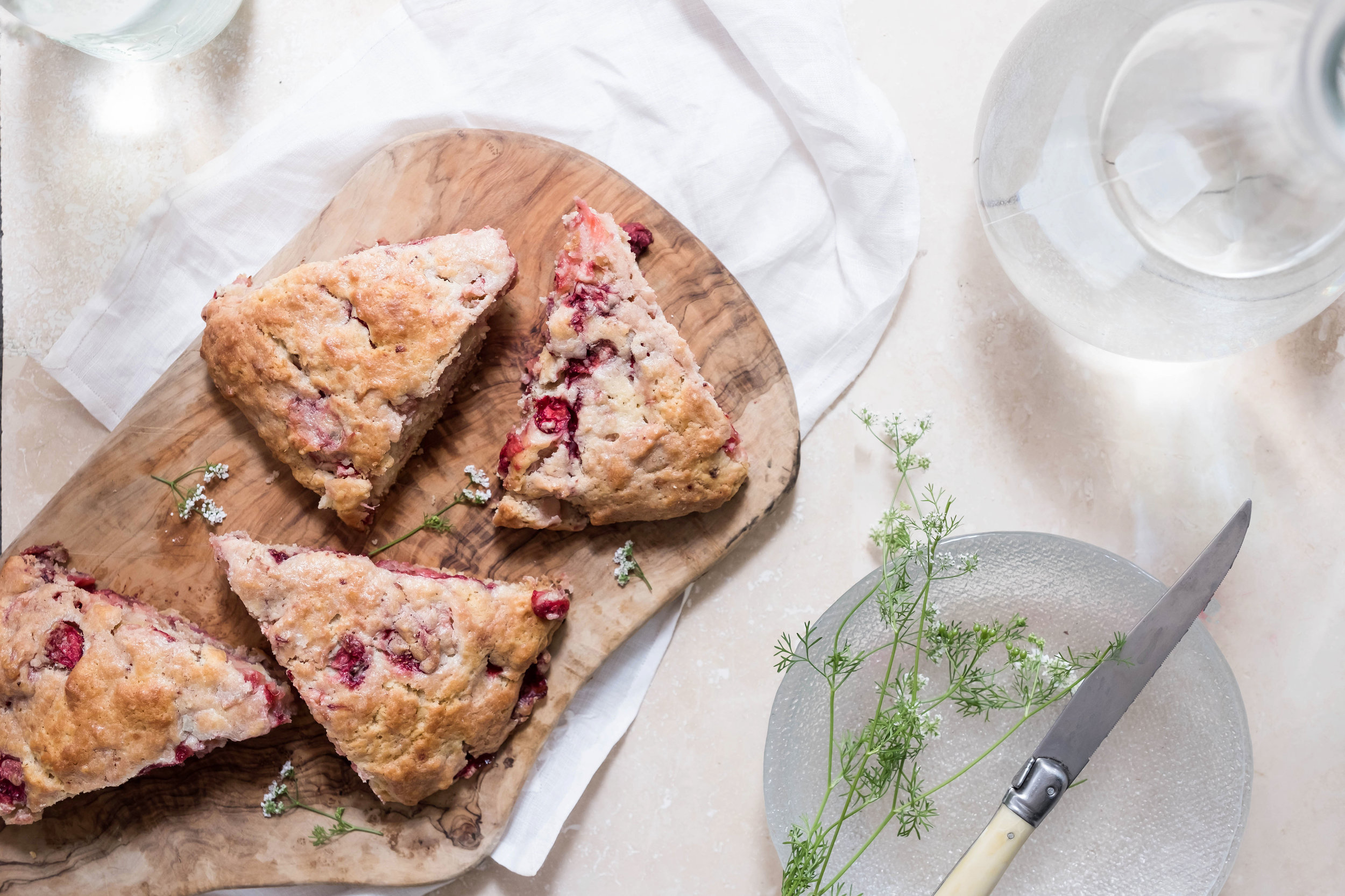 ROSE & IVY Journal Strawberry Rhubarb Scones