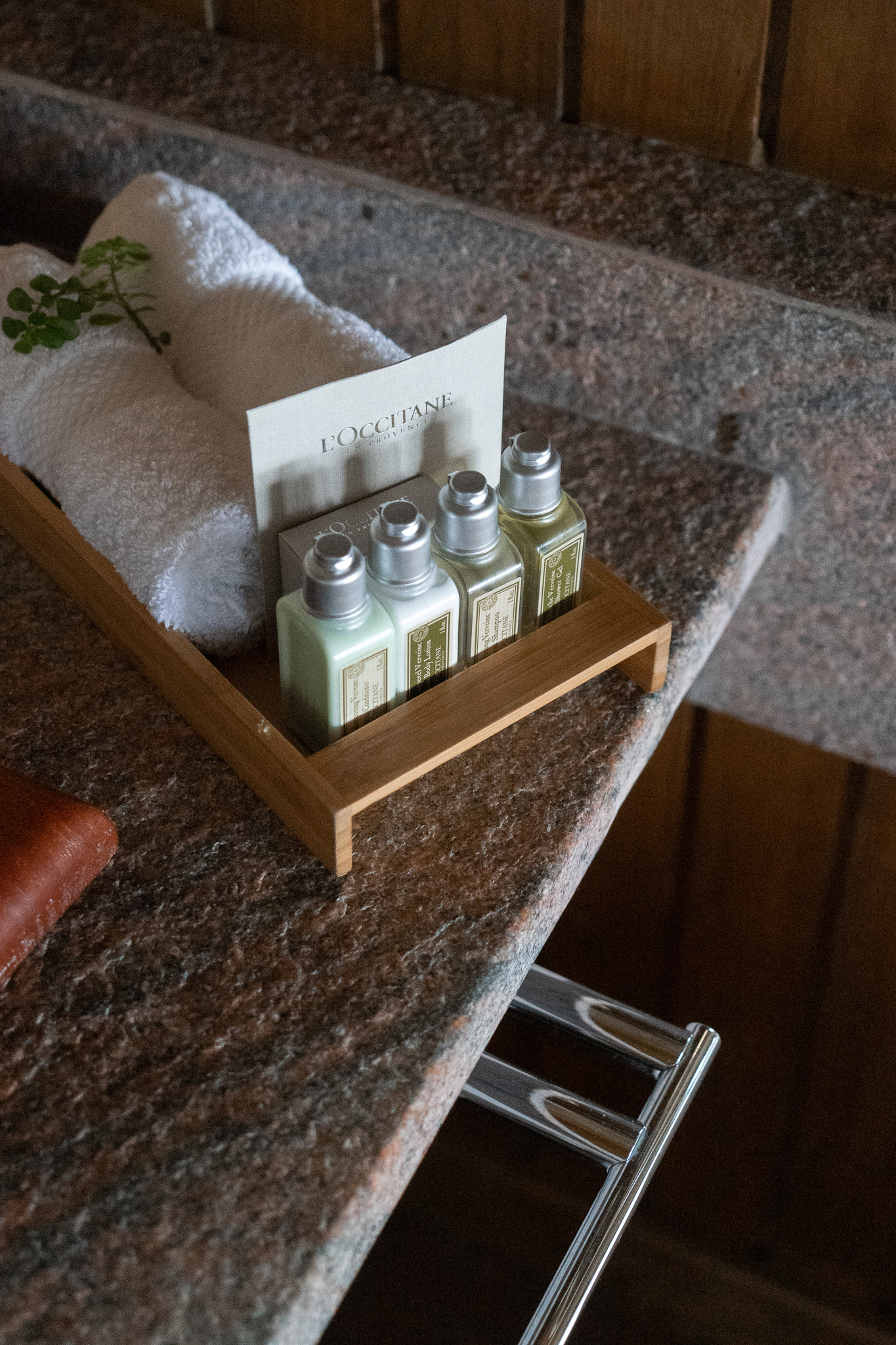 The rooms are stocked with amenities from L'Occitane.