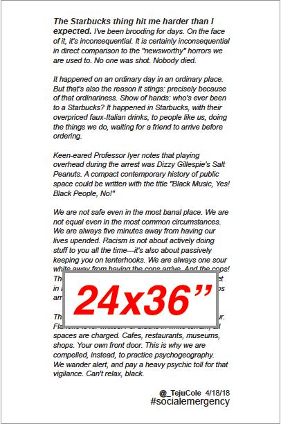 "Teju Cole Text: Interactive 24x36"""