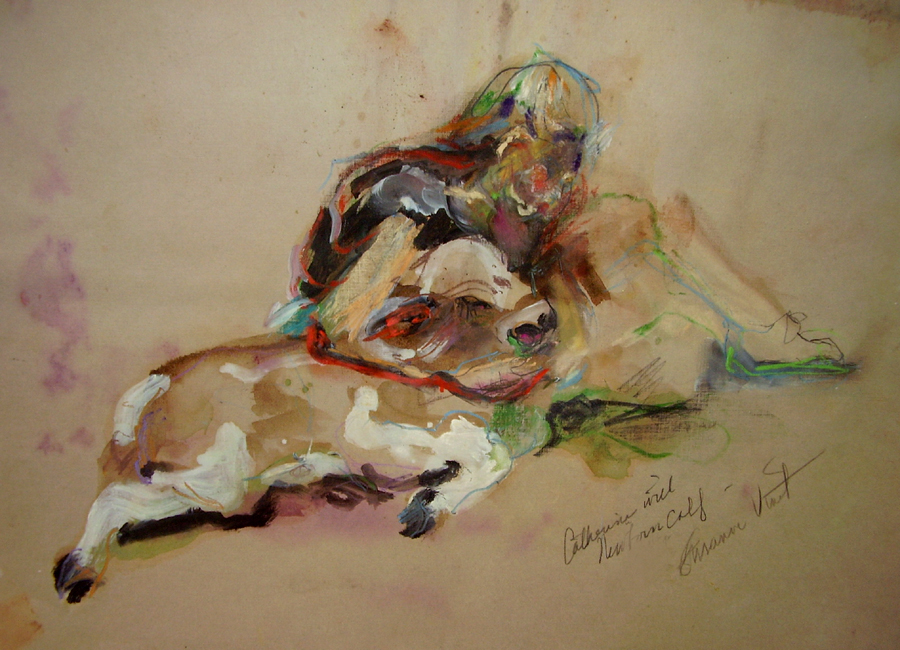 Catherine with Calf by Susanne Vincent