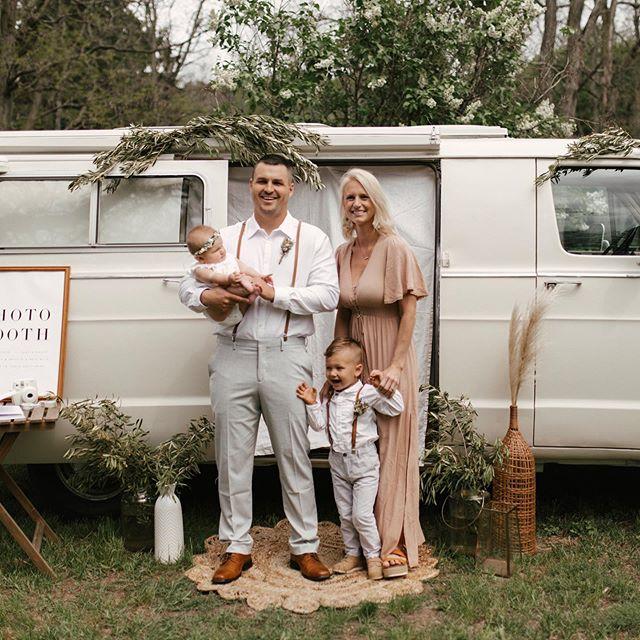 I wanted to take a sec to introduce our photo booth van, as well as the faces behind MRC!! This is us, with our littles in front of our 1974 Dodge tradesman! Jaeden is almost 3, and loves weddings & parties. He refers to the van as the 'cool' van and we think he's spot on! Eden is 6 months old and just loves to be with her people! If you are wondering, our van is available for rent for weddings and events. We offer a bundled package including the van parked wherever you envision it, with a rug, table, photo booth sign, and large statement vases for your florist to have fun with! We have 2 hooks for arrangements to hang from on the van! 🖤 DM or inquire through the link in our profile for more info!