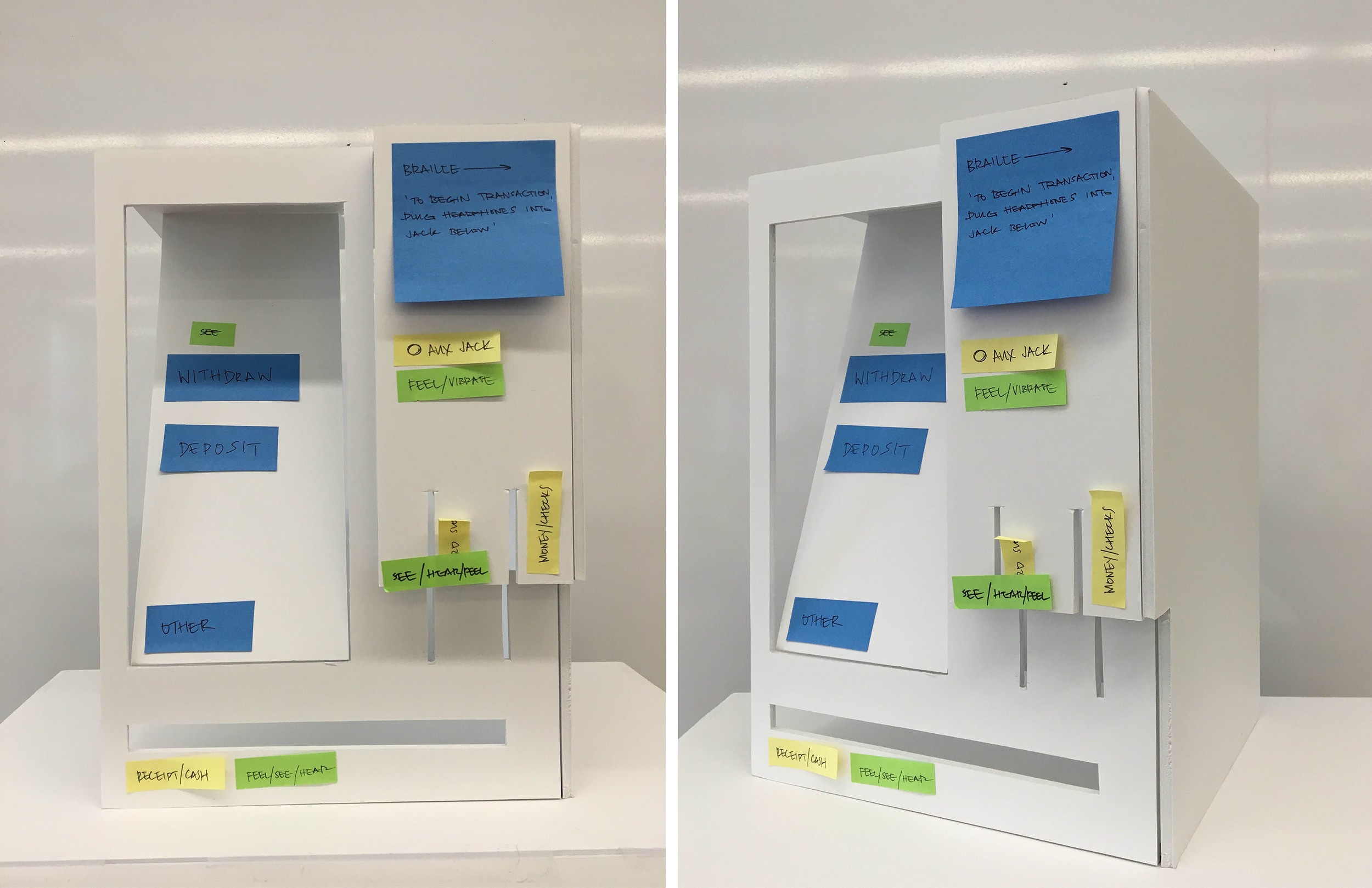 Preliminary Working Model  This model helped establish locations of ATM functions, first instant of clear separation of information input and output, and protruding right-hand pillar for blind compatibility. Most decisions are based on user testing, surveys, and human factors data.  Post Its are used to categorize types of sensory inputs and their respective locations to analyze blind-user functionality and possible control clusters for cohesive interaction