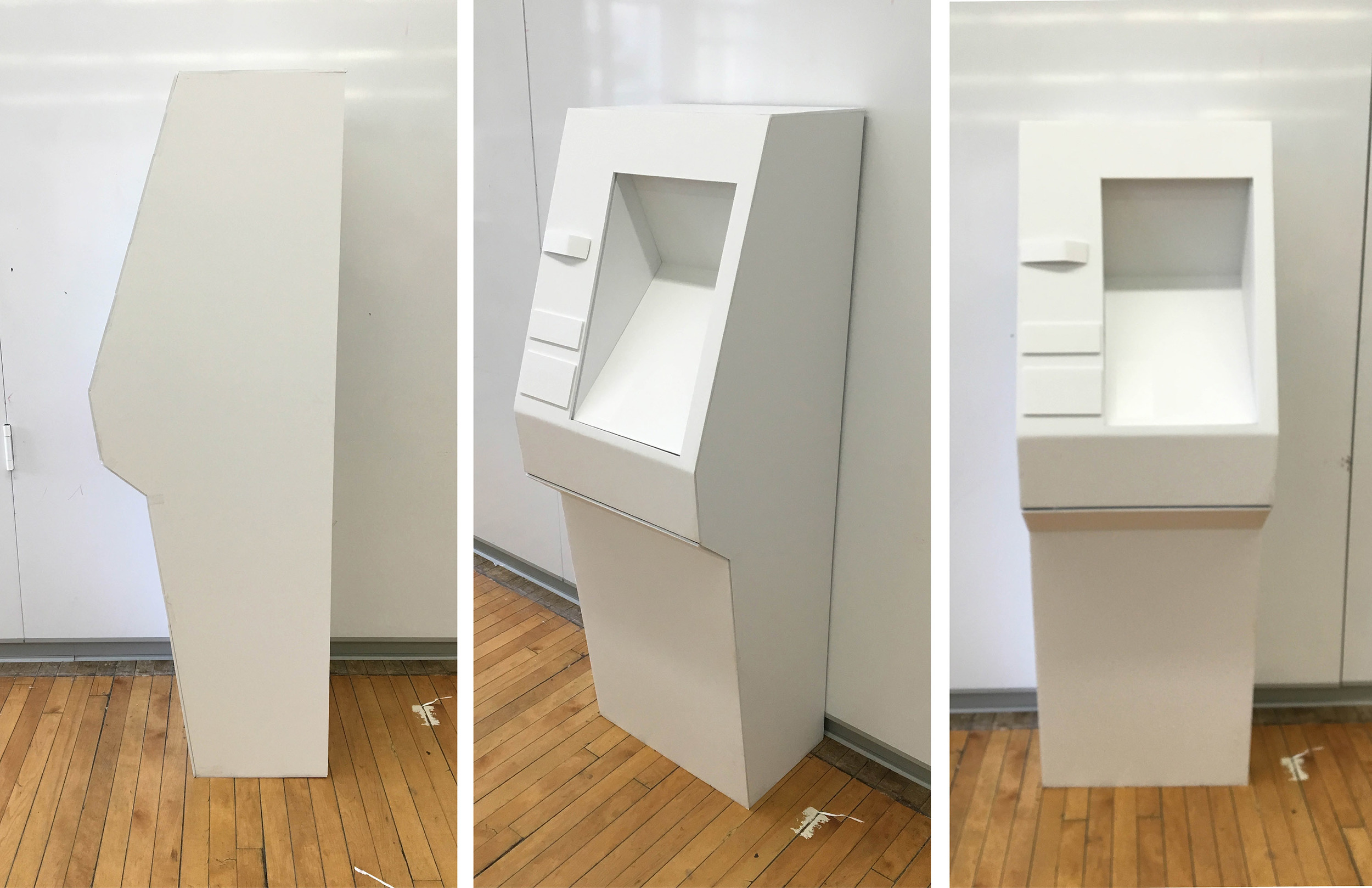 Final Full Scale Model  Model most accurate to proportions to final design: accurate heights for wheelchair accessibility, blind accessibility, and comfortable screen/dashboard angles for all users. This model has transparent braille plastic labels instead of white cardstock, closer to the final design of the ATM. The form of this model is a more refined, compact version of the former.