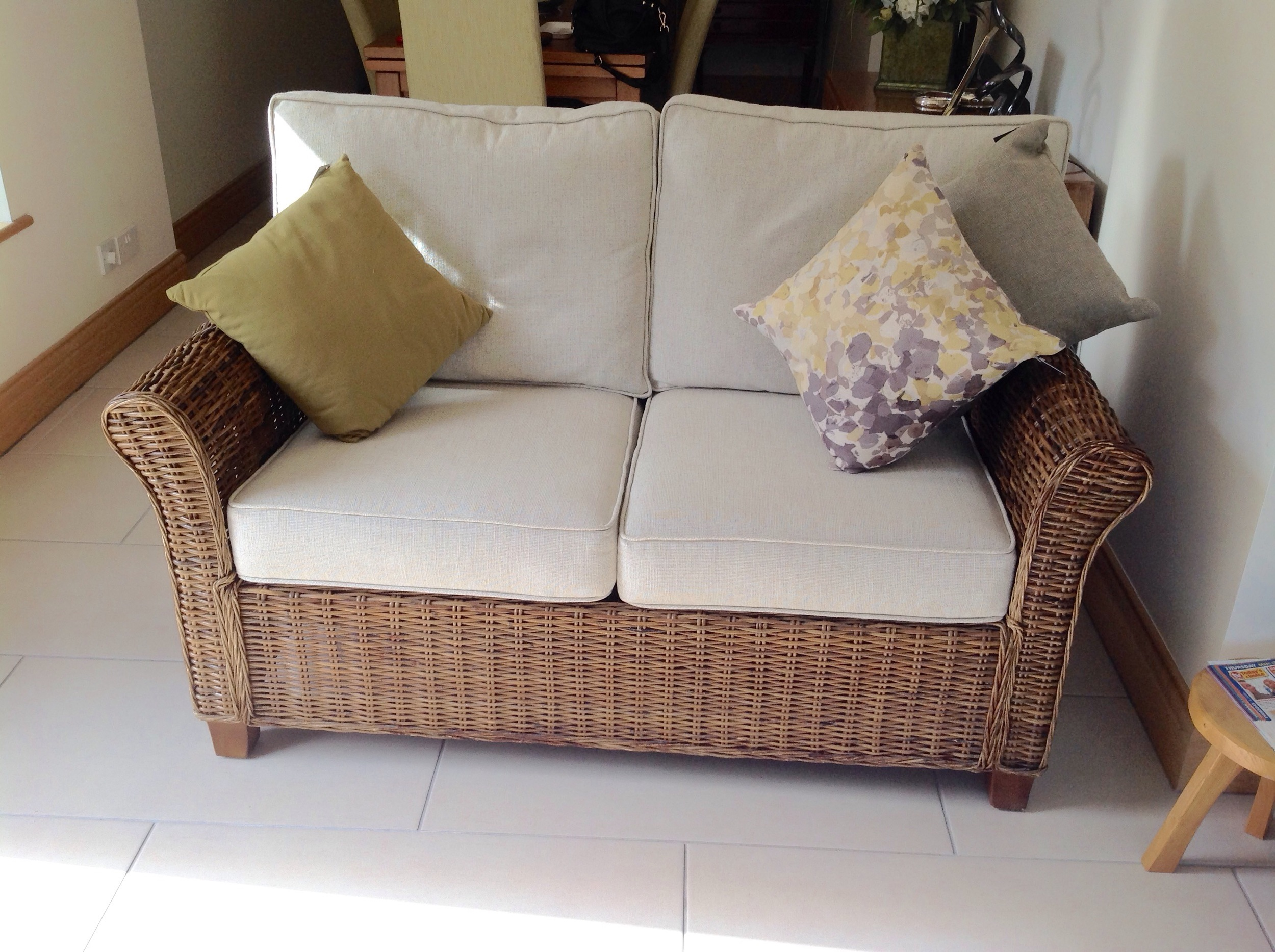 New cushions made to fit this cane settee, 2 new HR 50 soft foam interiors & hollow fill backs.