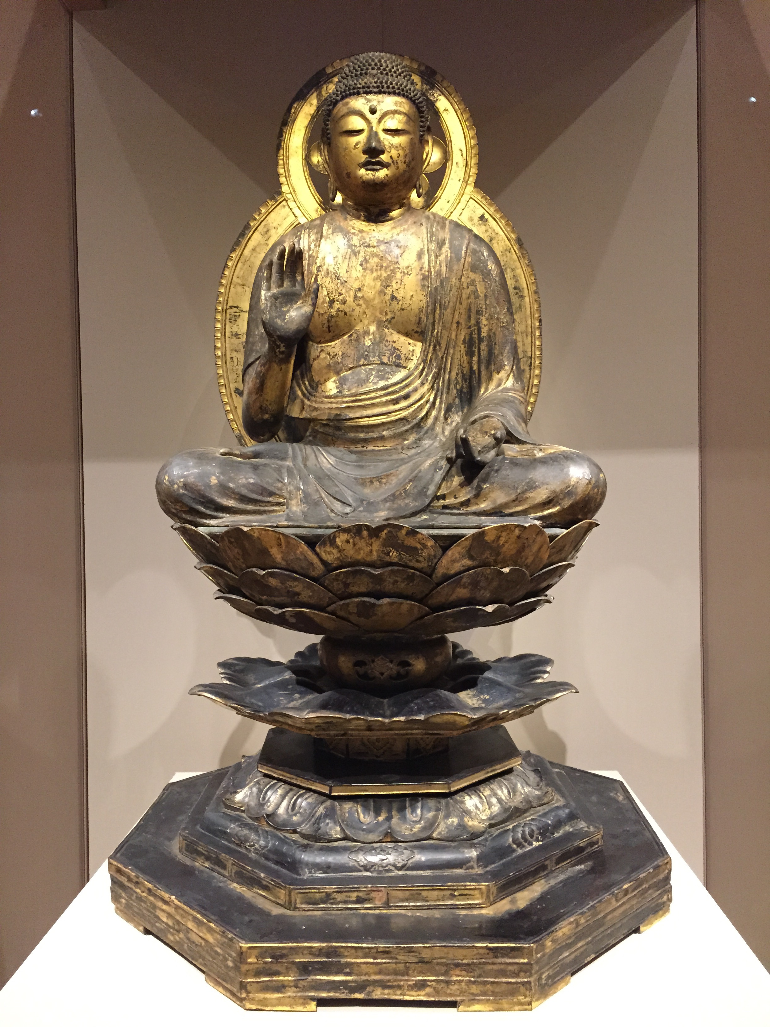 Yakushi-Nyorai Buddha,   1100s  Gilded wood  Japan, late Heian period (about 900-1185)