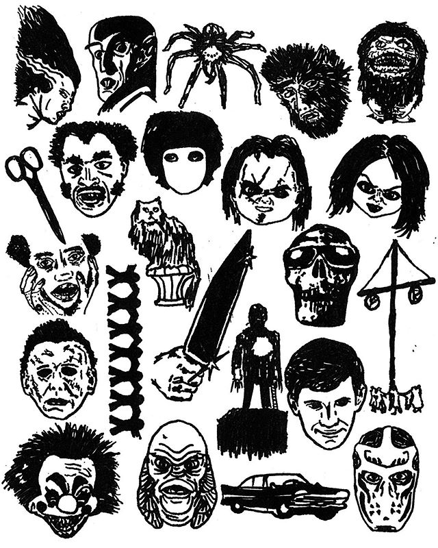 Had some fun illustrating characters/objects from my #31HalloweenPosters series. Which one is your favorite and can you name them all!? Full poster series is on my profile. ⠀⠀⠀⠀⠀⠀⠀⠀⠀ #illustration #illustrator #illo #halloween #horrormovies #graphicdesign #penandink