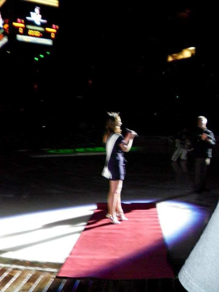 Performing the national anthem on the ice before some impressive hockey!