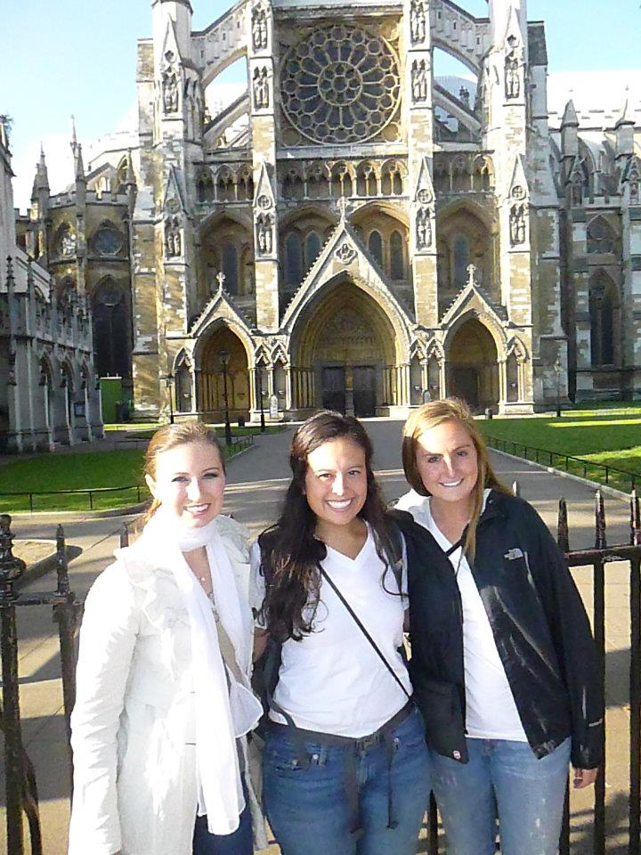 Outside Westminster Abbey in London with my classmates