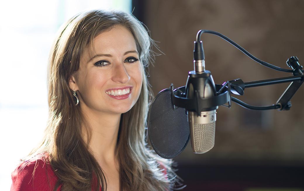 Lauren Kuhn, Miss Massachusetts 2014, getting ready to sing.