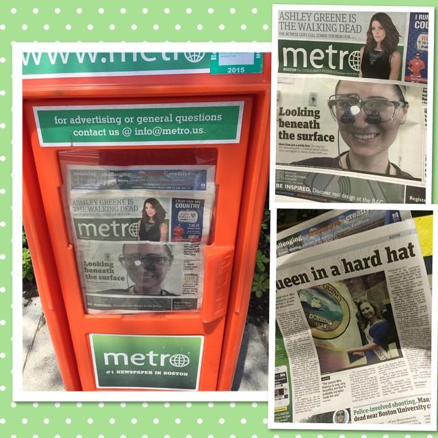 "Front page in the Boston Metro - Lauren Kuhn, ""Queen in a hardhat"""