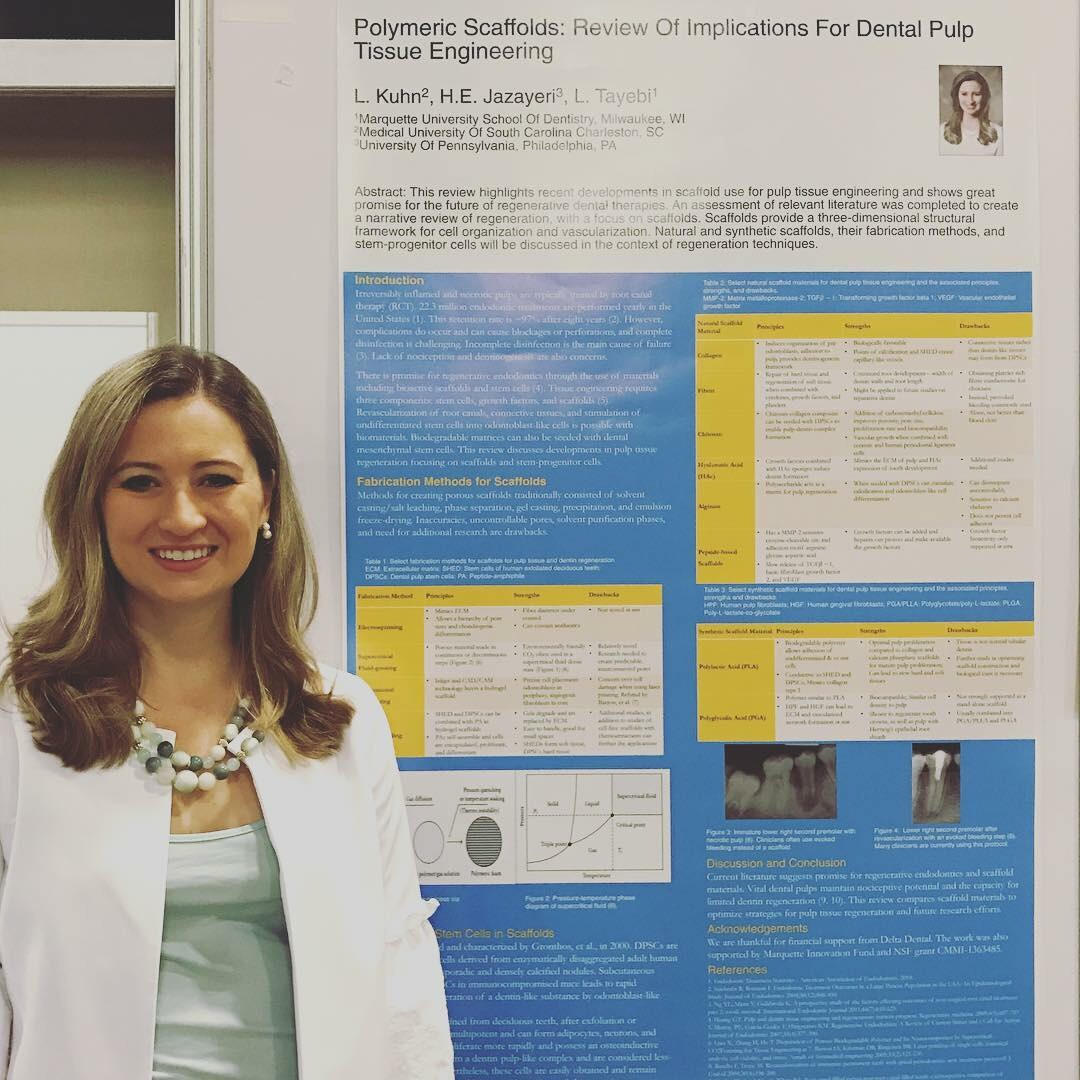 AADR 2018 - On March 24th, 2018, Lauren had the opportunity to present a poster at the American Association for Dental Research (AADR) conference in Ft. Lauderdale, FL. Her poster was a review created in collaboration with colleagues from Marquette University and the University of Pennsylvania.
