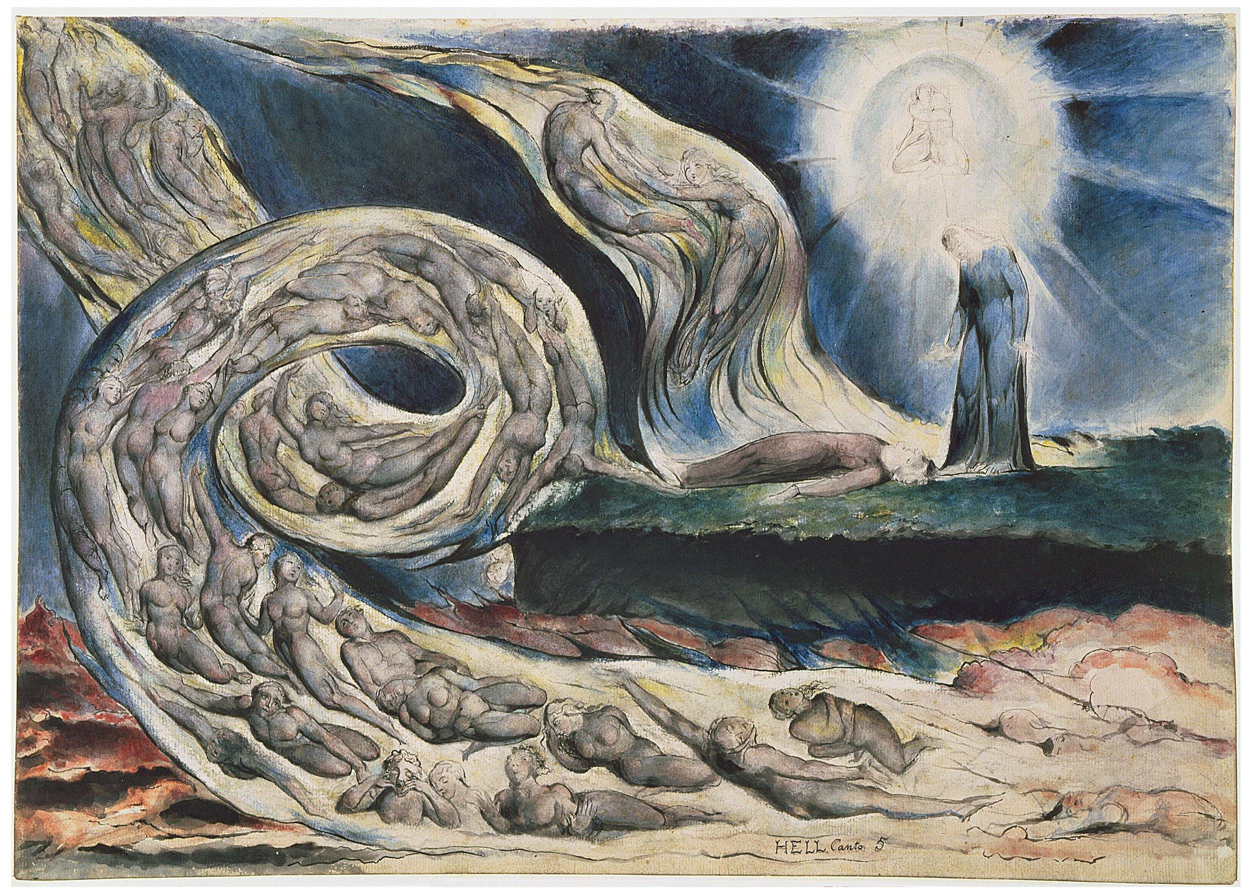 """""""The Circle of the Lustful"""" (William Blake) - Ilustração do 2o Círculo do Inferno, representado no Canto V, onde estão os amantes Francesca da Rimini e Paolo Malatesta."""