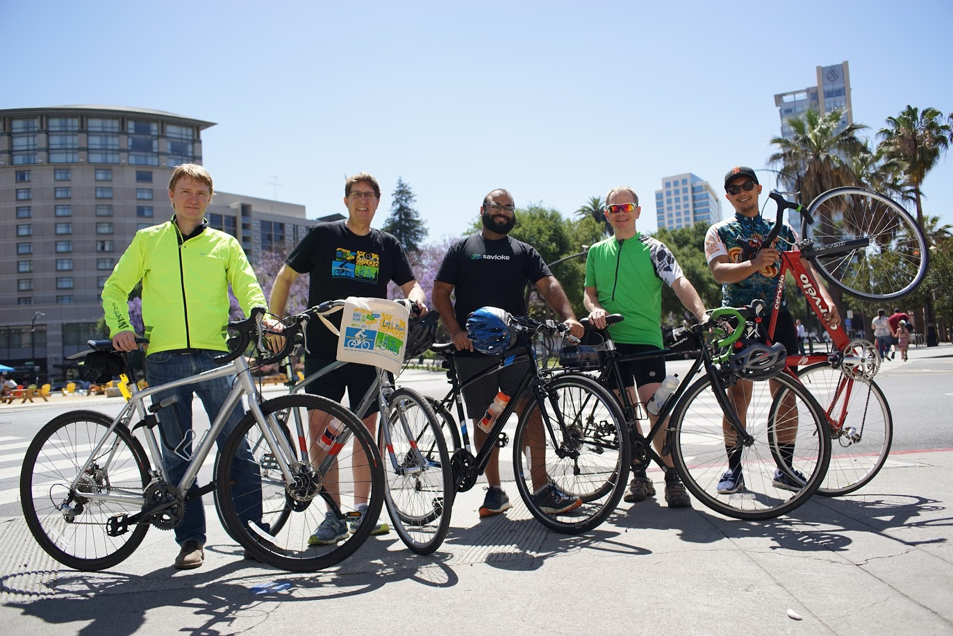 Members of the Relayers Bike Team (from left to right) Phil Herget, Keith Berte, Vimal Parsotam, Clemens Drews, and Kevin Canoy