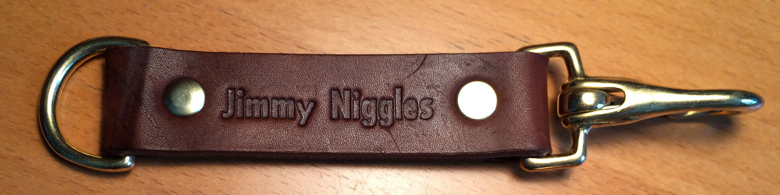 Leather lanyard key fob with solid brass fiitiings  ©FizzArrow