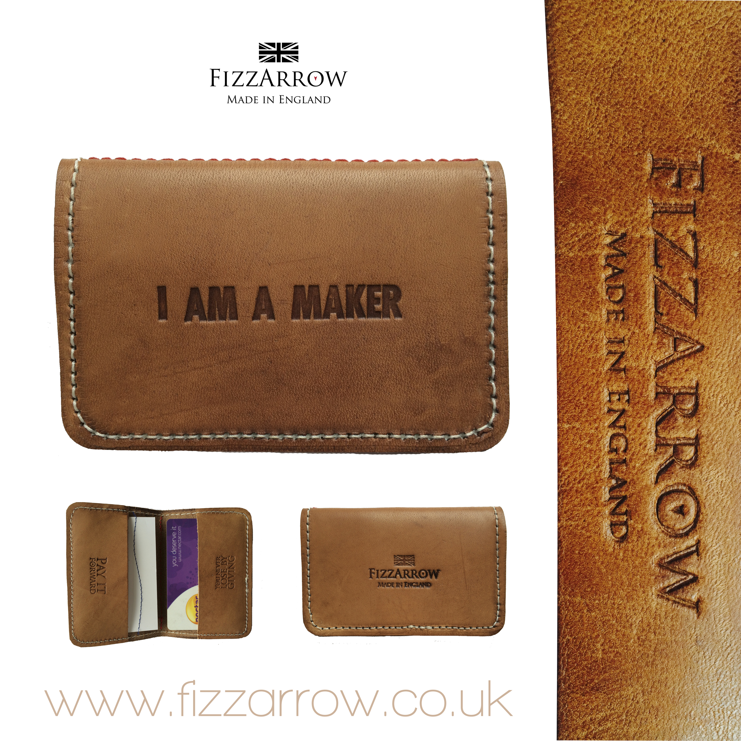 Folded leather credit card wallet for @greyhouseengland©FizzArrow