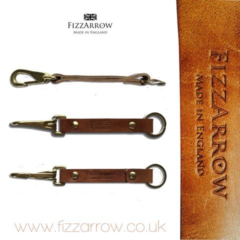 ©FizzArrow English Oak bark tanned leatherslimline lanyard. Handmade embossed leather with British brass snap hook.