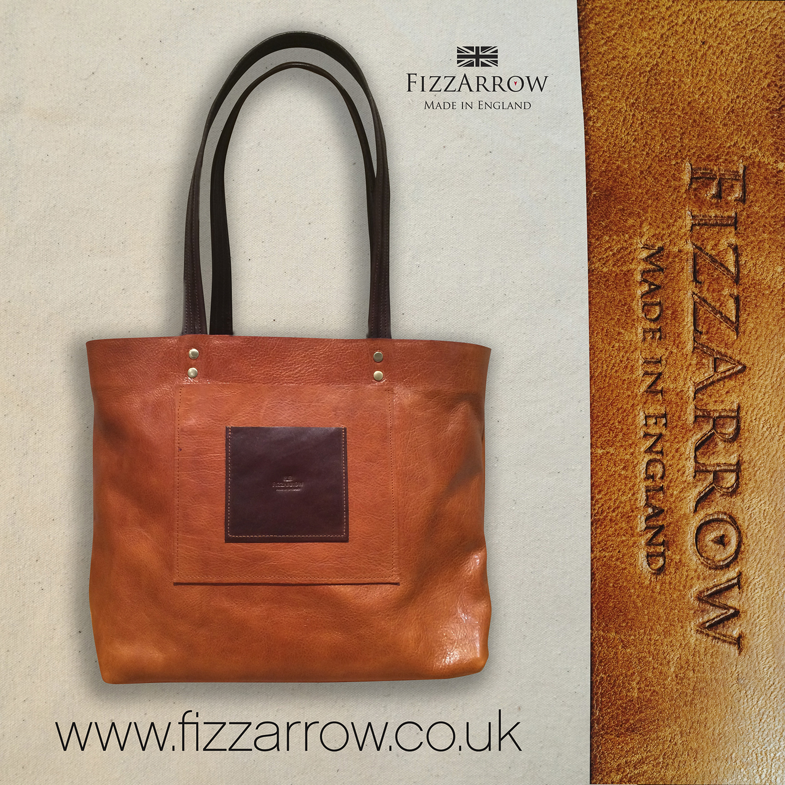 ©FizzArrow leather shopper, bespoke, hand made to order. Tan and dark brown leather.