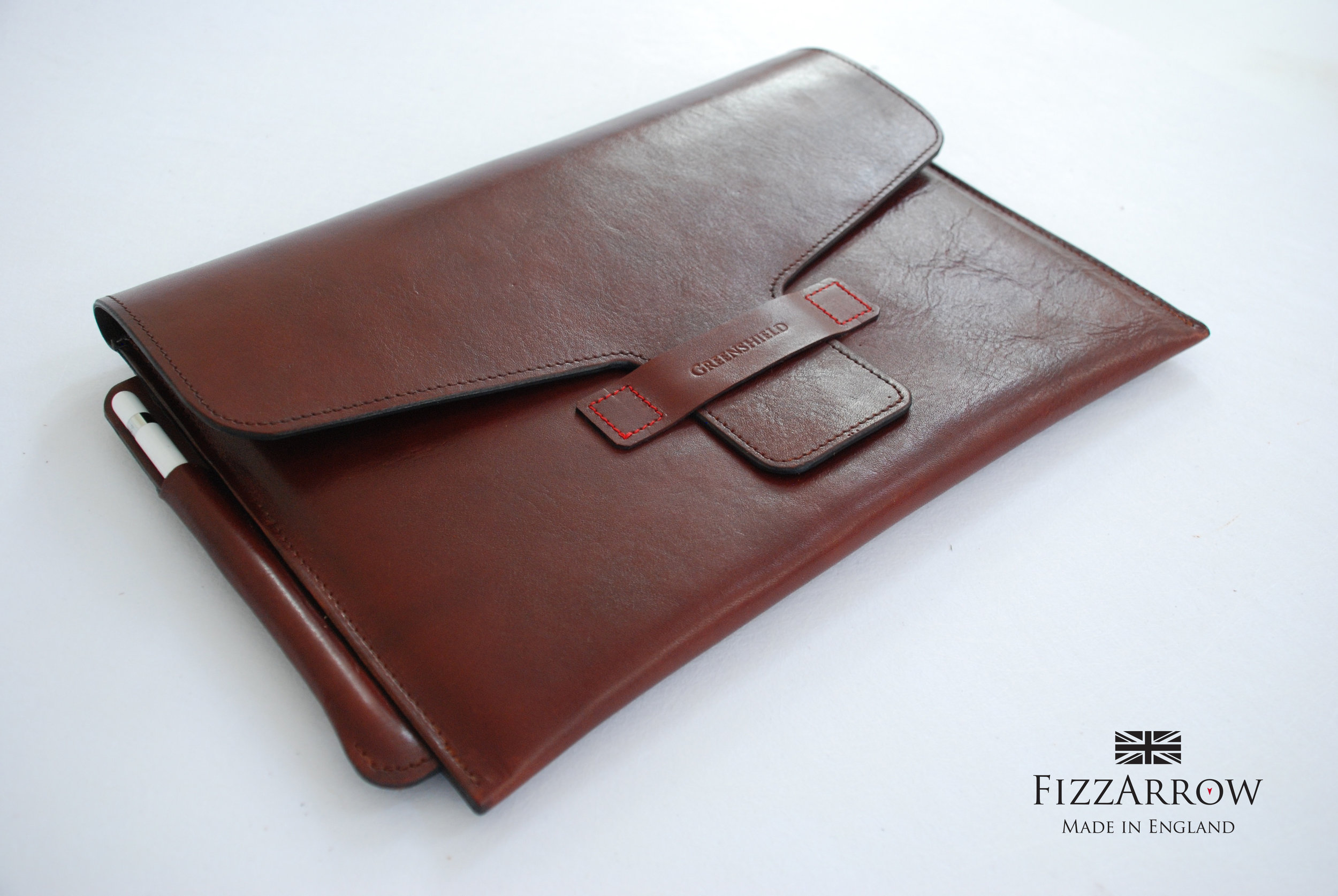 ©FizzArrow  iPad Pro leather case, lined with calf skin. Wet moulded pencil sleeve to fit Apple pencil. Tuscan leather. #redthread