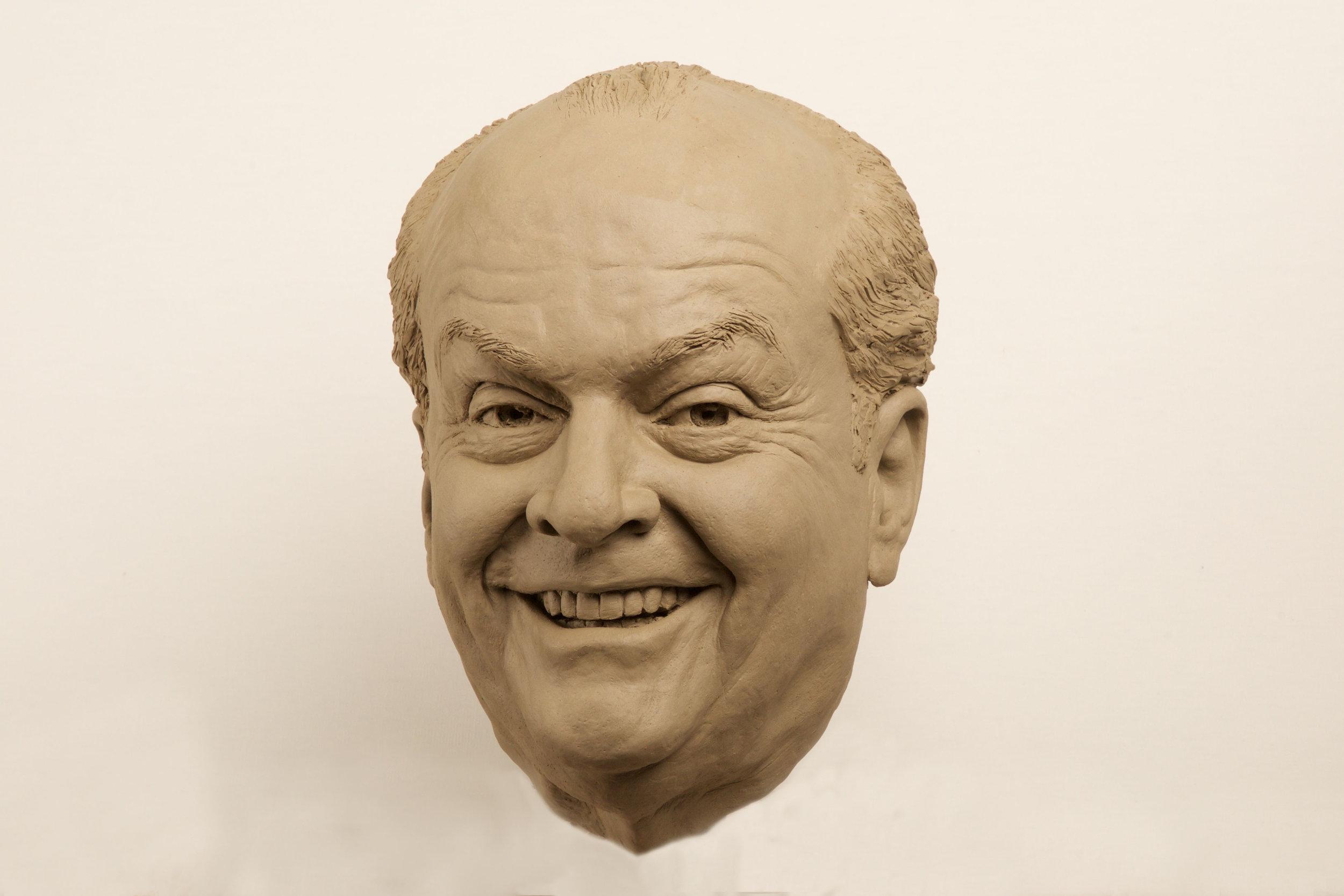 Jack Nicholson clay portrait sculpt