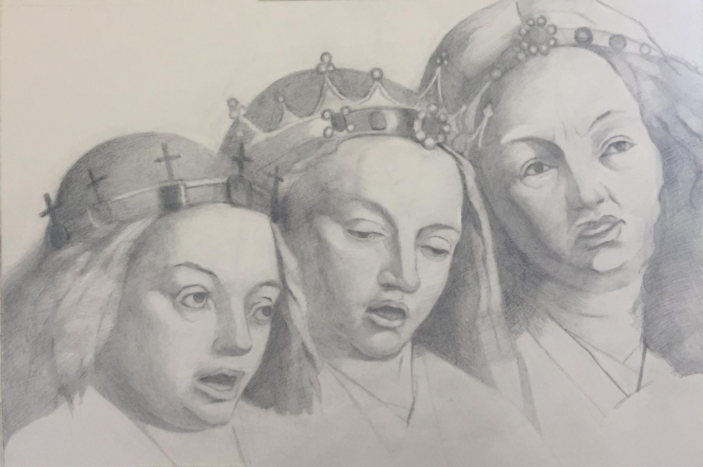 """After Van Eyck (10"""" x 8""""): 2018 –Graphite"""