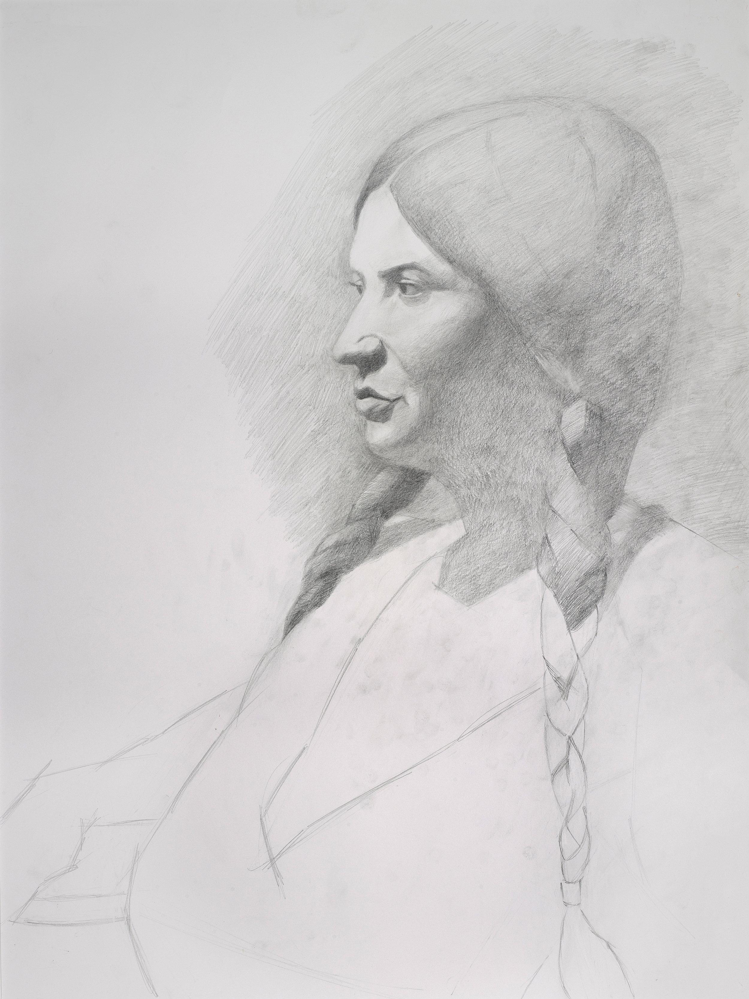 "Woman with Braids (18"" x 24""): 2018 – Graphite"
