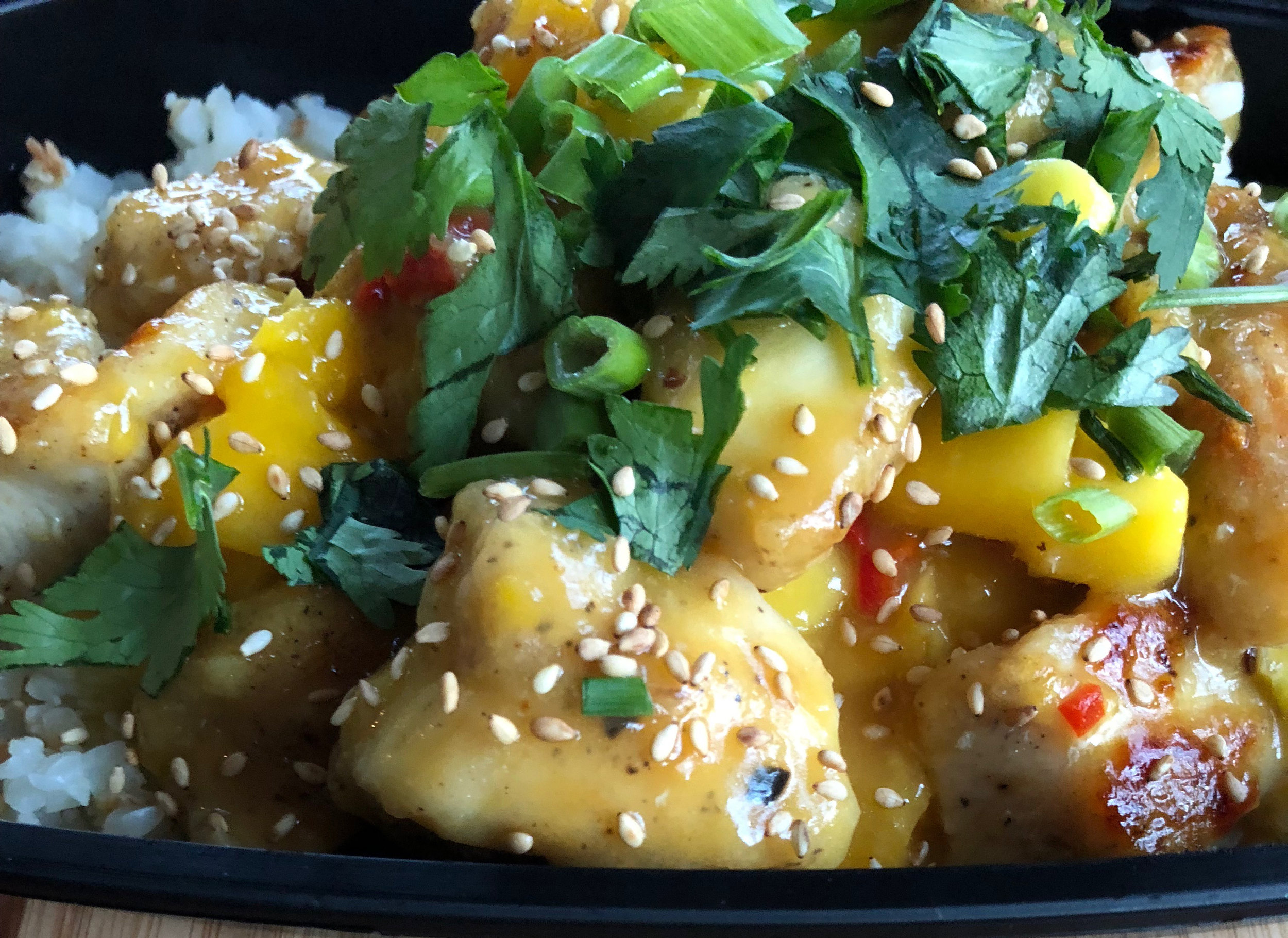 "Mango chicken with coconut cauliflower ""rice"""