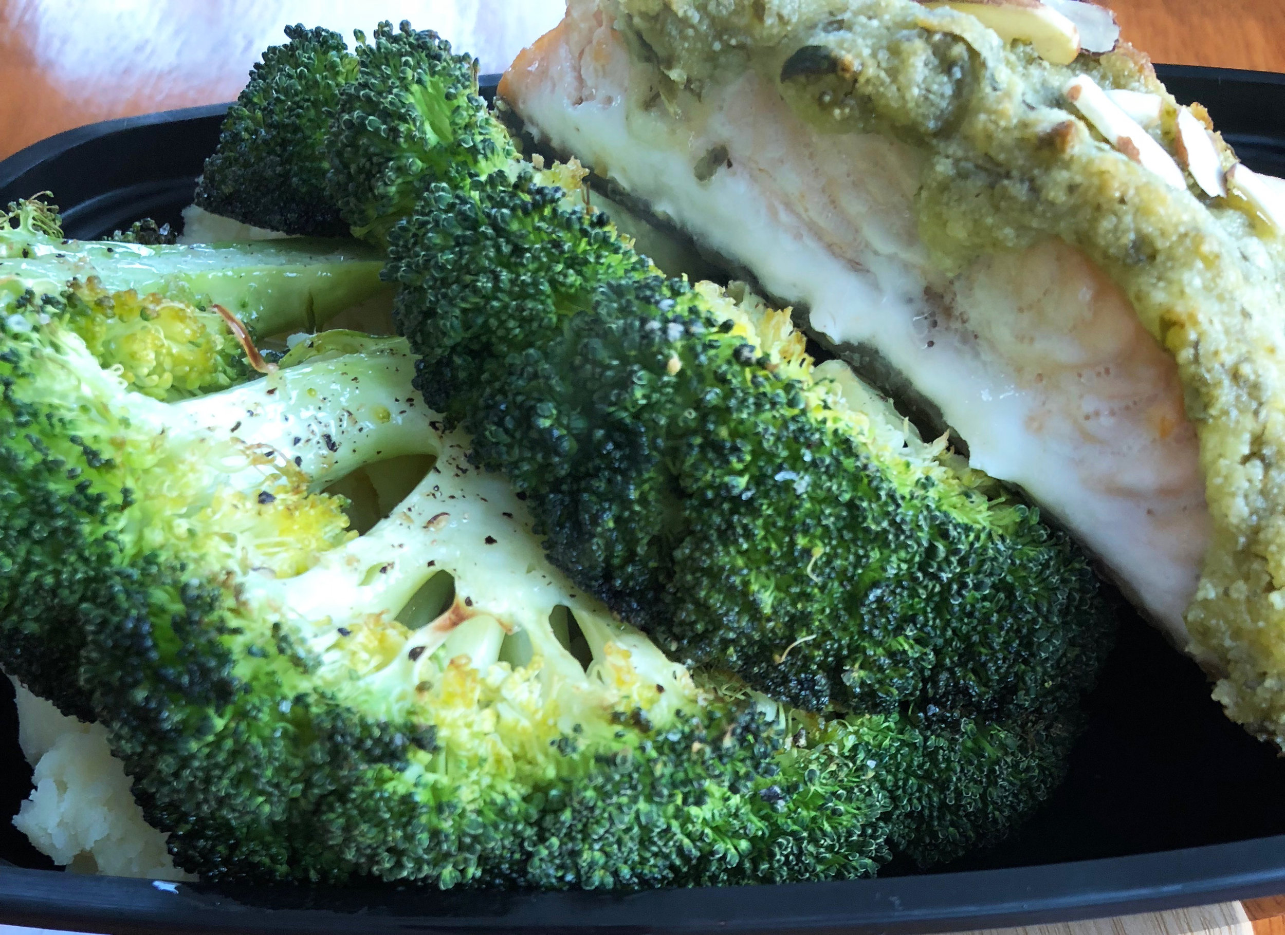 Herb crusted baked salmon and roasted broccoli steaks