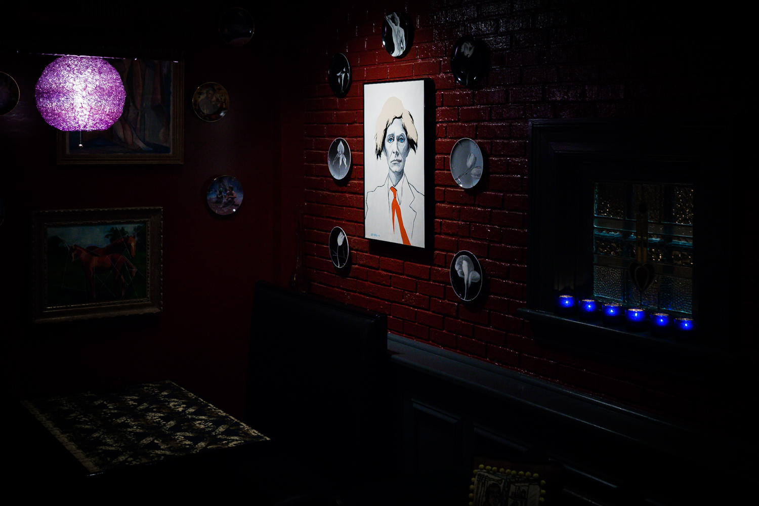 Dim Interior with David Bowie Art on Wall .jpg