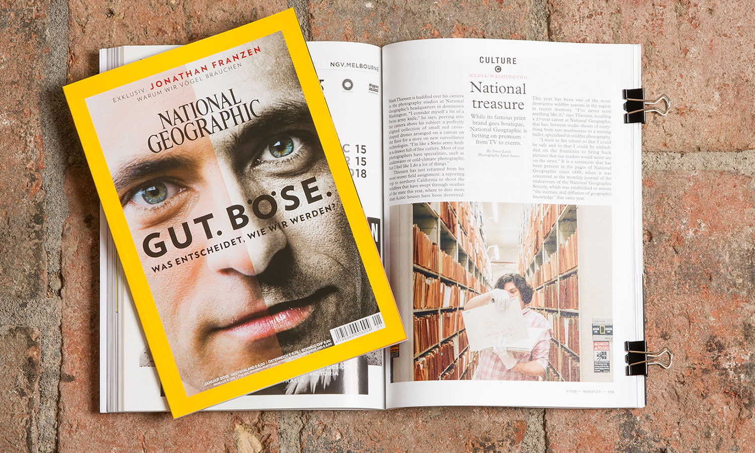 Magazintitel National Geographic, Januar 2018 und Bericht über National Geographic im Magazin Monocle No 109.