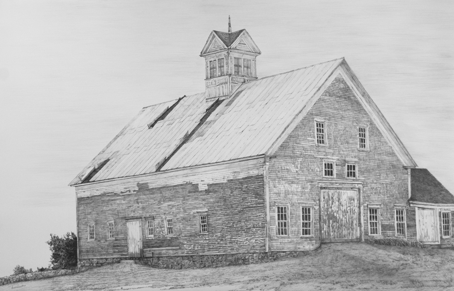 "Before She Blew Down, Gorham, Me. where my family settled in 1648.  Graphite on paper, 26"" x 40"""