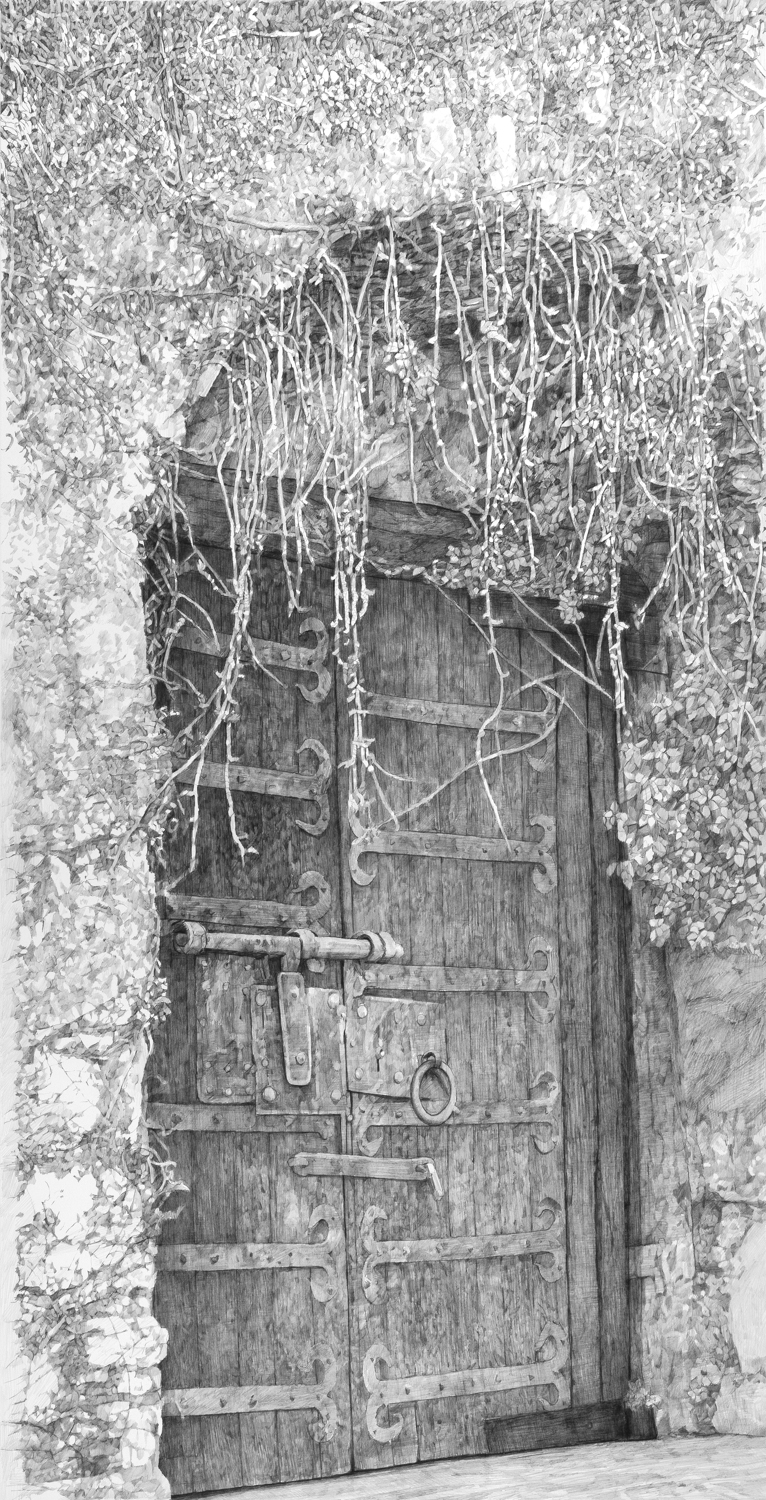 "Doorway, La Turbie, France  Graphite on paper  60"" x 40"""