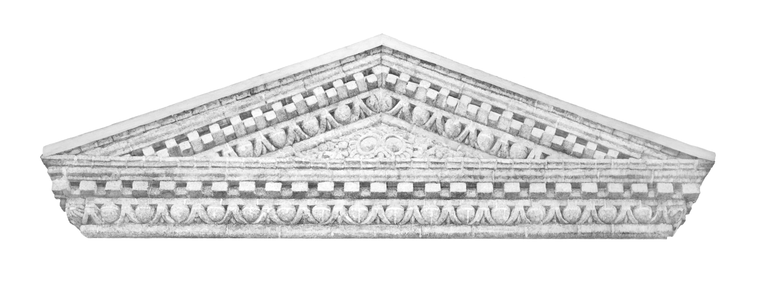"Harvard Facade  Graphite on paper  22"" x 60""  Sold, Private Collection"