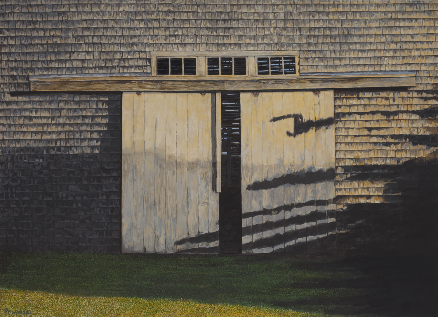 "Flagg Barn Doors  Oil on panel  30"" x 40"""