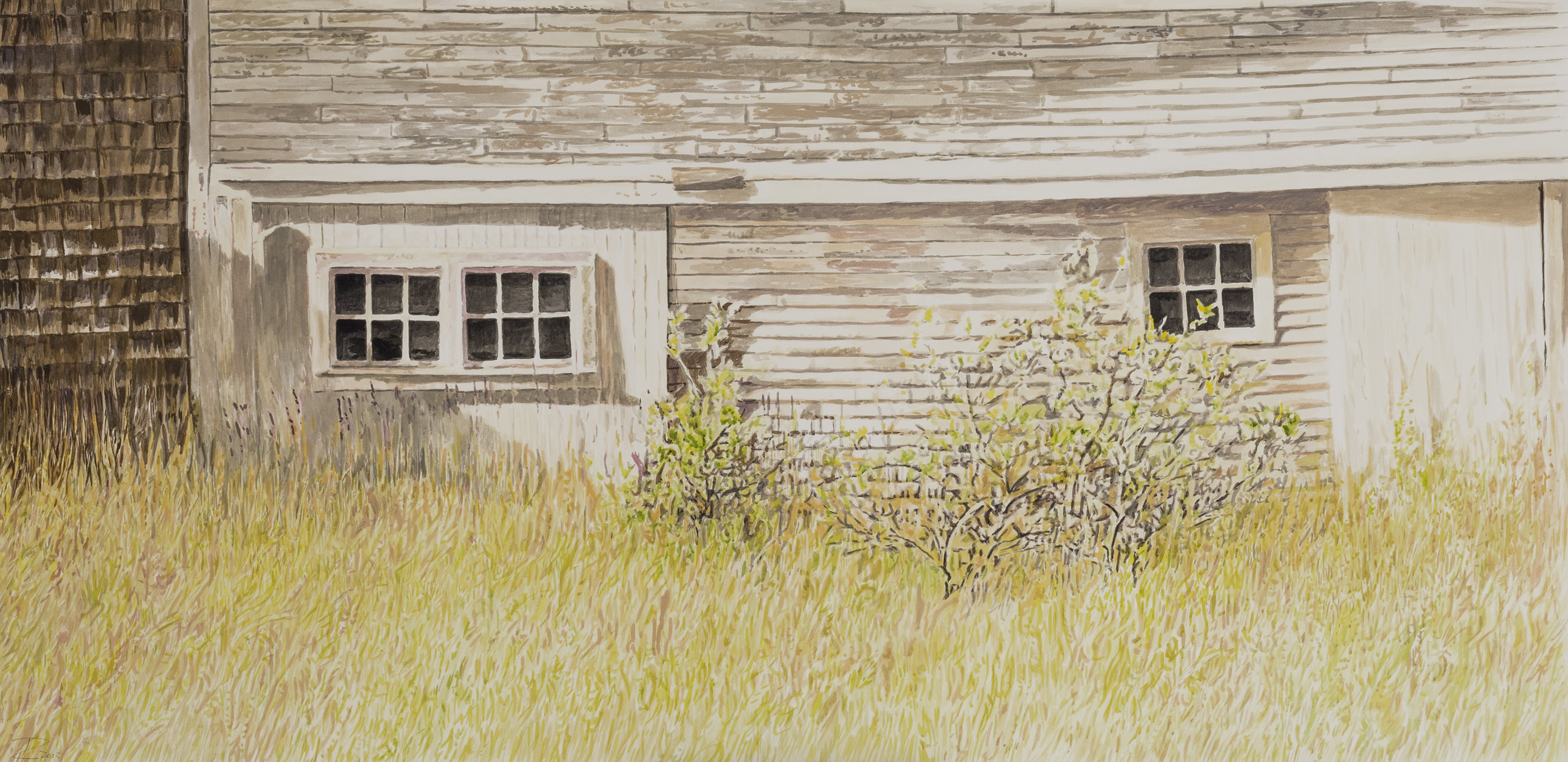 The Old Sail Loft  Gouache on paper 16 x 33 inches, available
