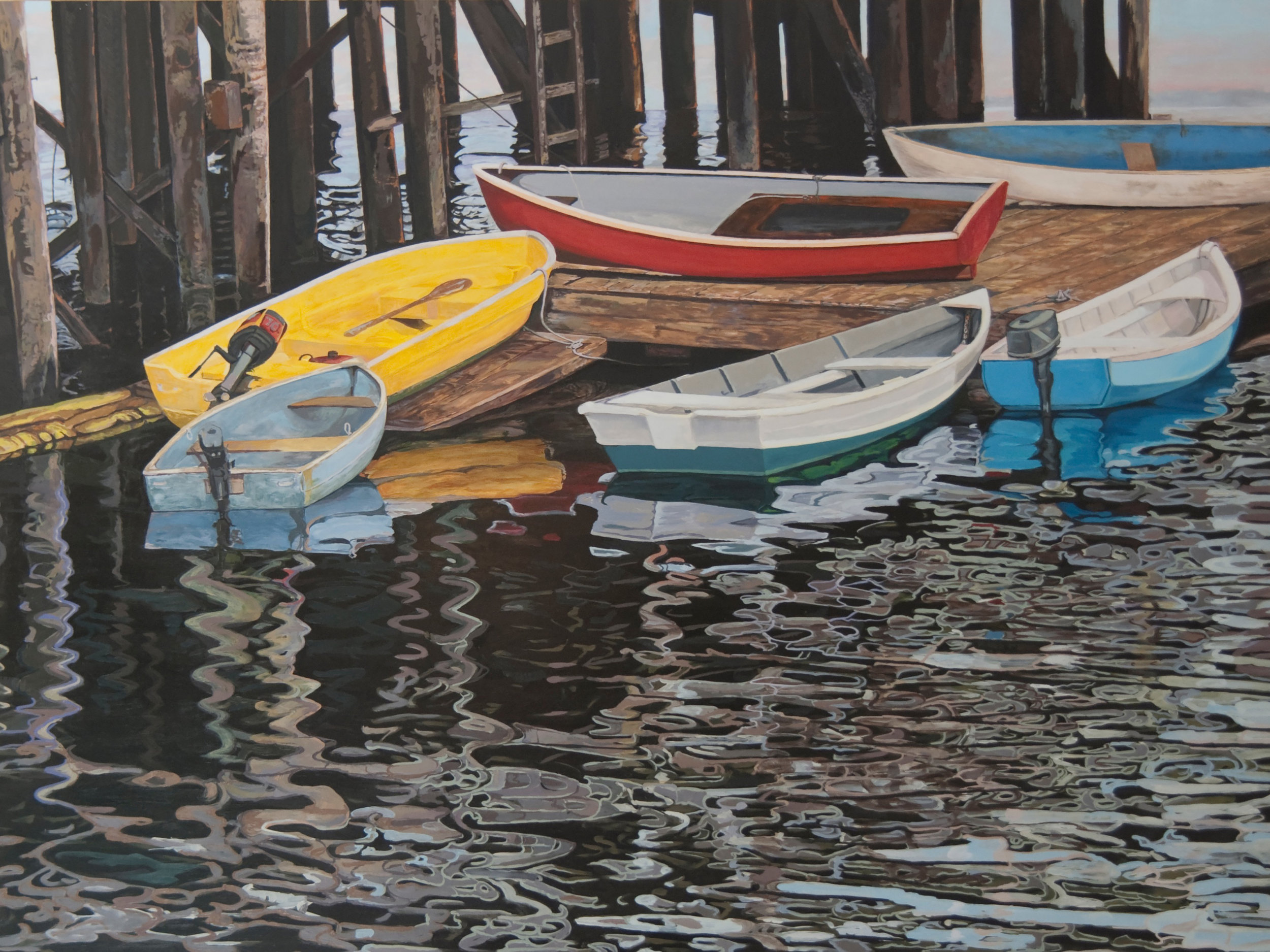 Southwest Harbor Dinghies  Oil on panel 30 x 40 inches, available