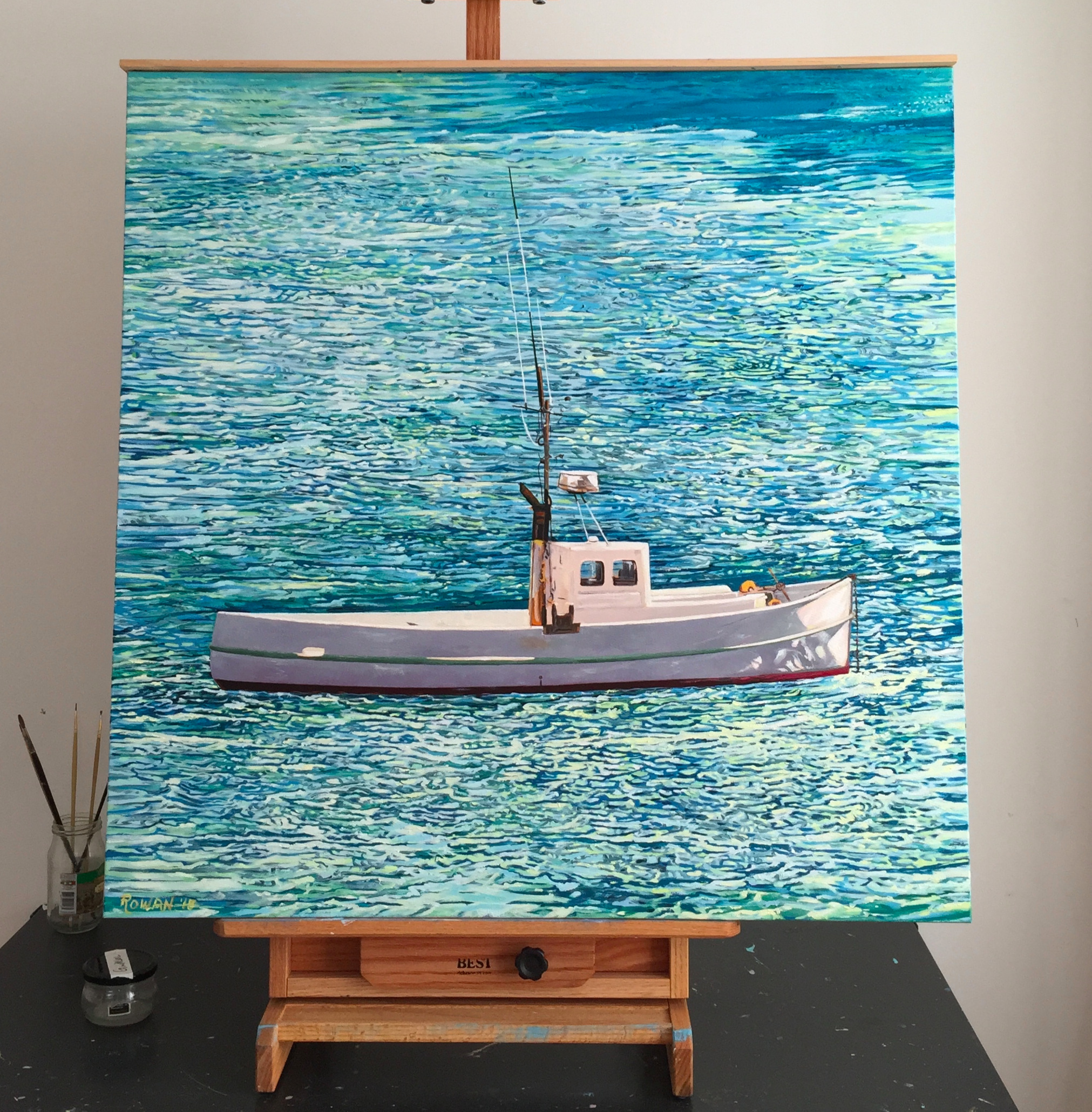 Maori Fishing Boat,  Marlborough Sound, New Zealand,   Oil on canvas 36 x 36 inches, available