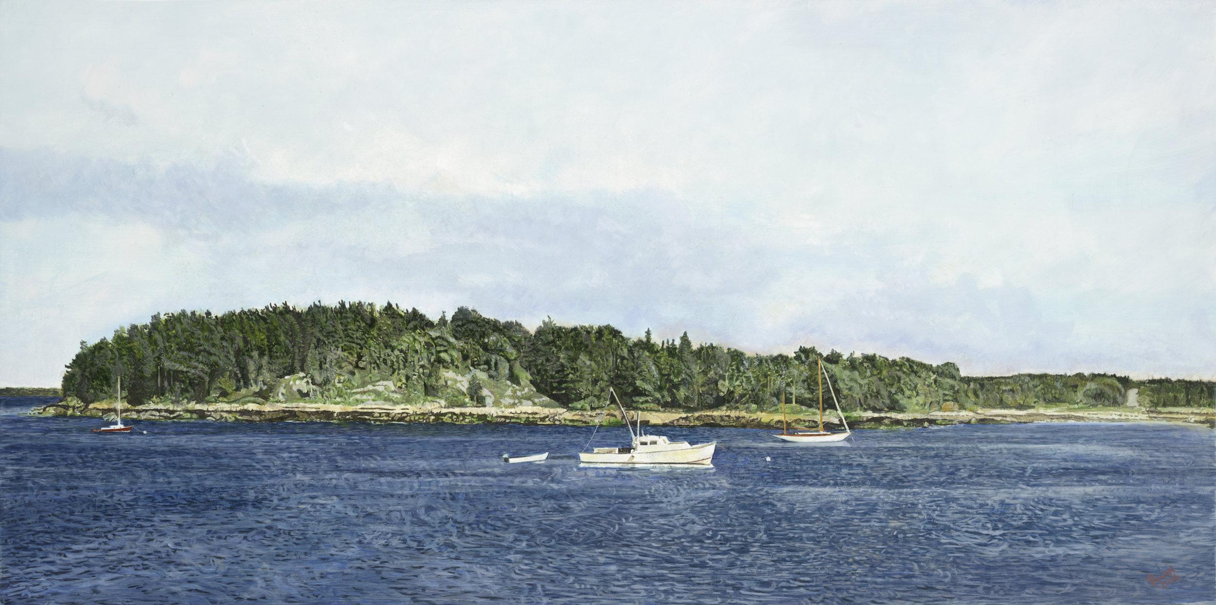 Deer Isle Maine  Oil on panel 12 x 30