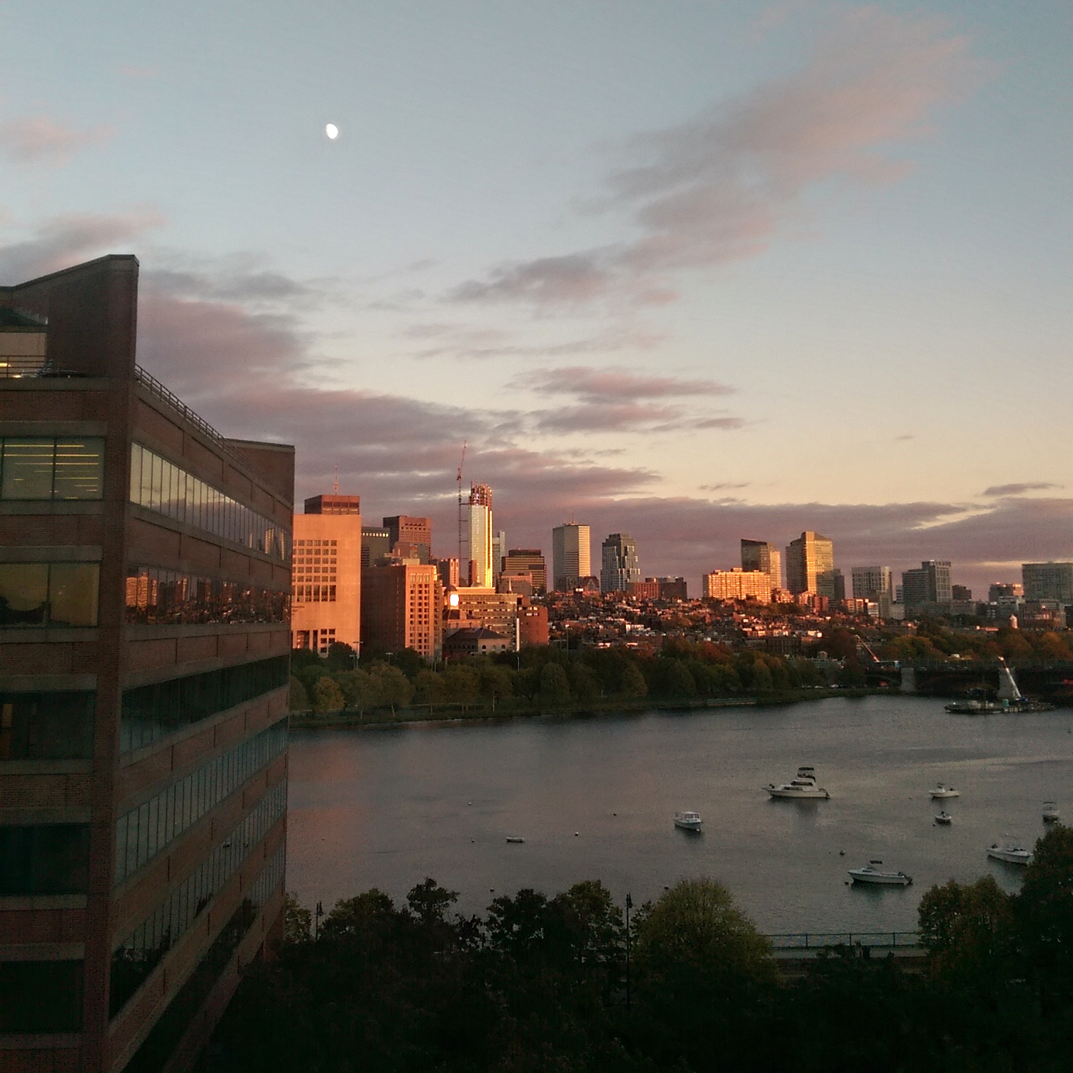 Added Bonus #2: Sunsets have been super awesome lately. The moon was also out today which was super cool.