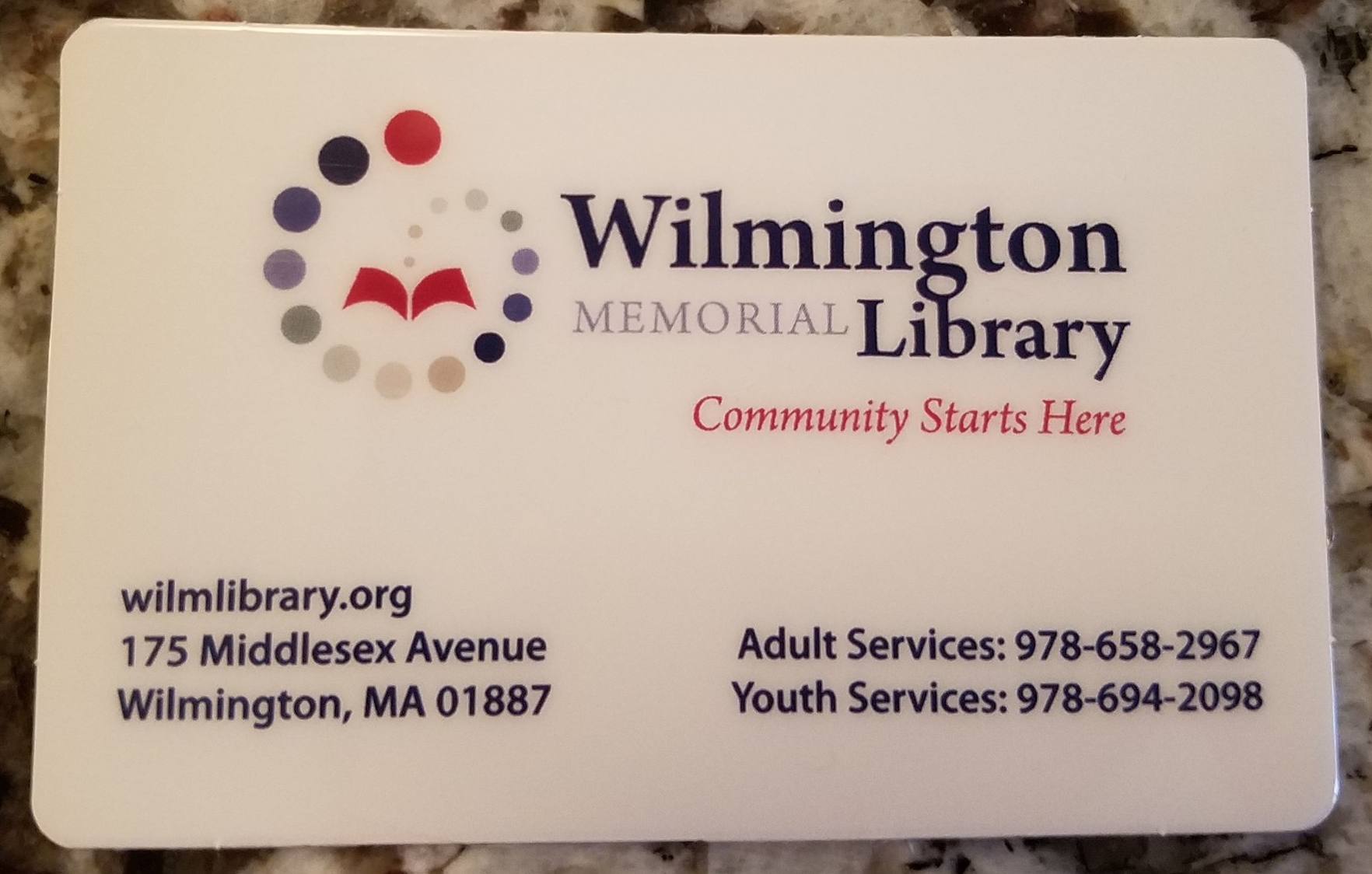 Wilmington MA Library Card