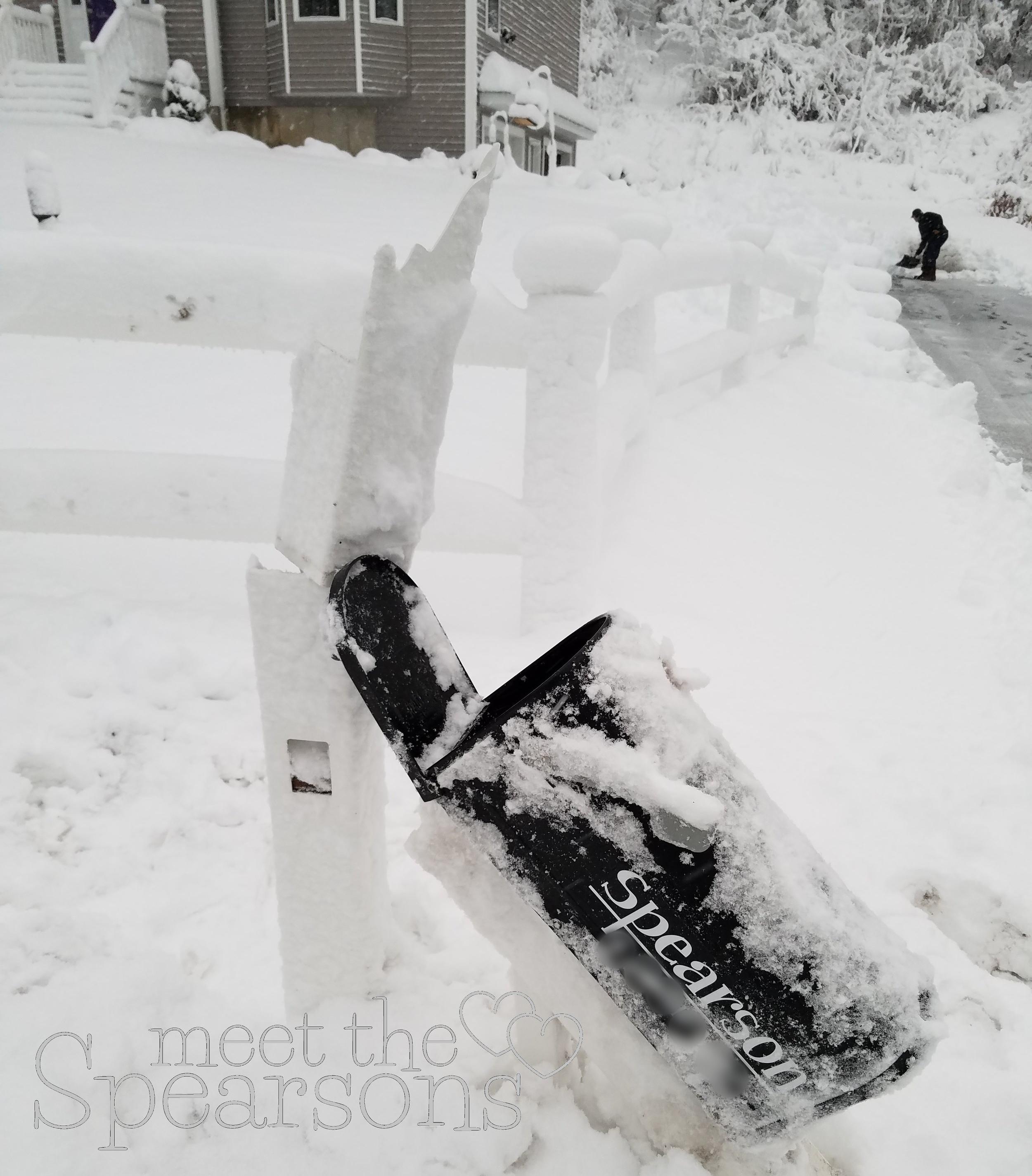 Plow broken mailbox