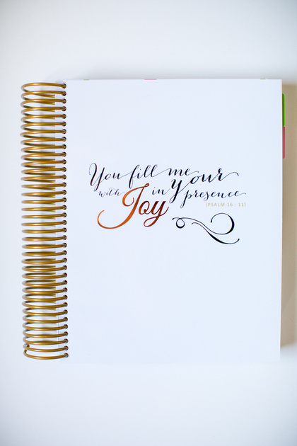 """The outside cover. Simple and inviting for your quiet time. Psalm 16:11 """"You fill me with Joy in Your presence."""""""