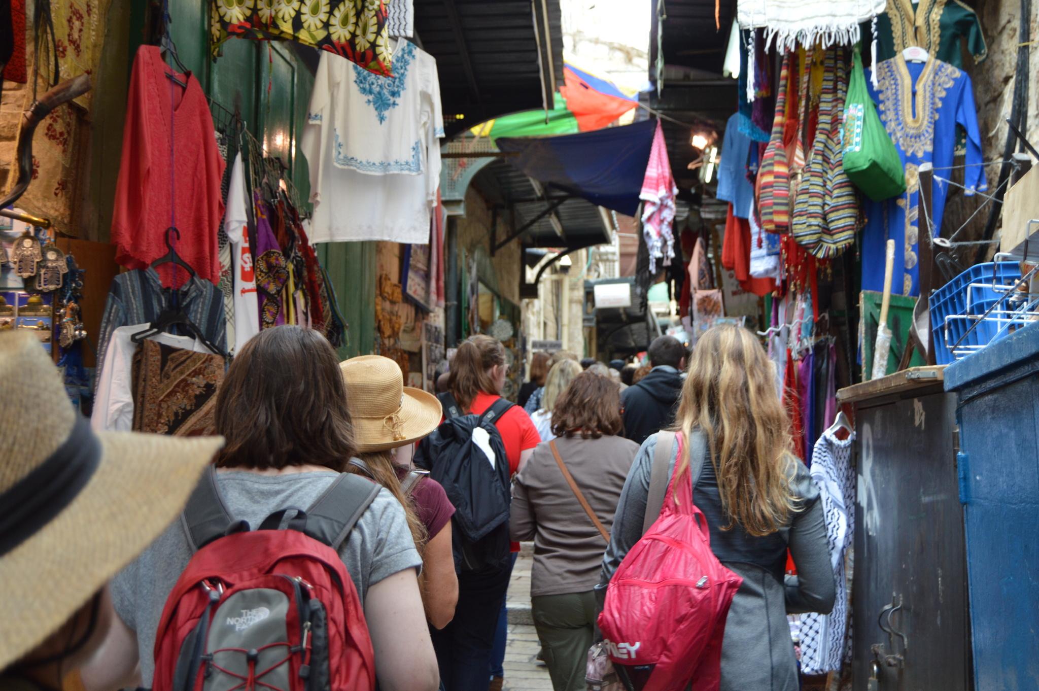 Modern Day Via Dolorosa in Jerusalem.