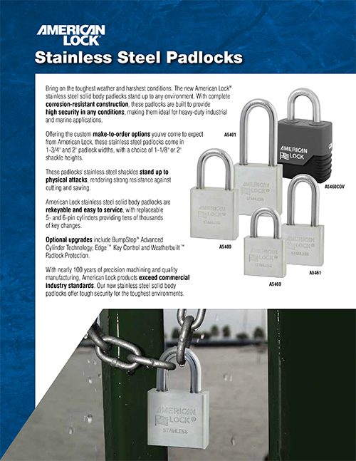 Click to download the American Lock PDF padlock product brochure.