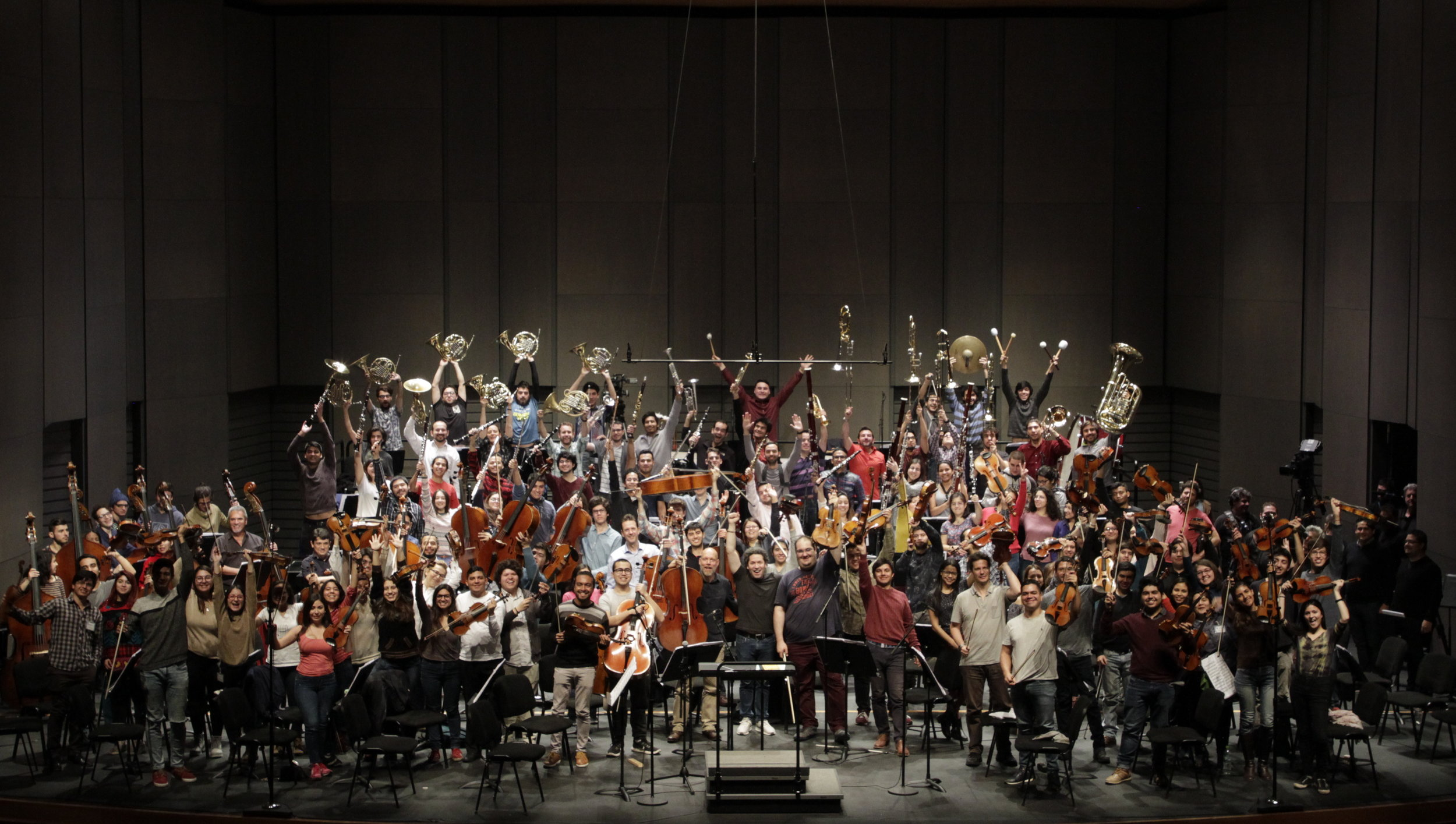 Maestro Gustavo Dudamel   and musicians of the National Youth Symphony Orchestra of Venezuela, Youth and Children's Orchestras Foundation of Chile (FOJI), Los Angeles Philharmonic, Vienna Philharmonic, Berlin Philharmonic, Gothenburg Symphony Orchestra, and Simon Bolivar Symphony Orchestra of Venezuela. Santiago, Chile. © 2018 The Gustavo Dudamel Foundation