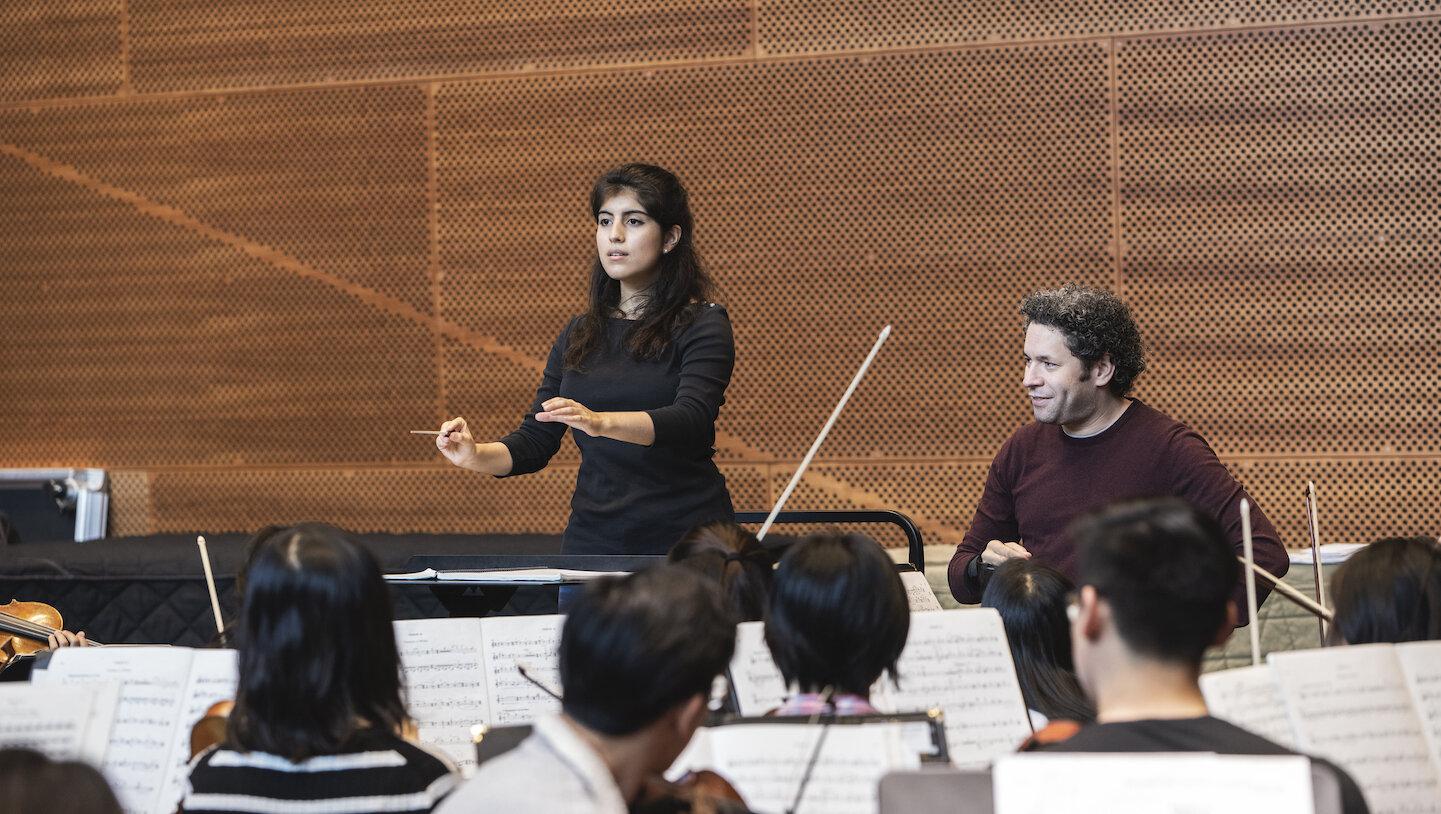 Gustavo Dudamel leads a conducting masterclass with Princeton University students. January 2019.