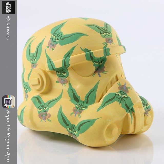 "Repost from @starwars using @RepostRegramApp - #StarWarsLegion #art exhibition helmet design ""Yoda Camouflage"" by Matt Jones. #StarWars #stormtrooper"