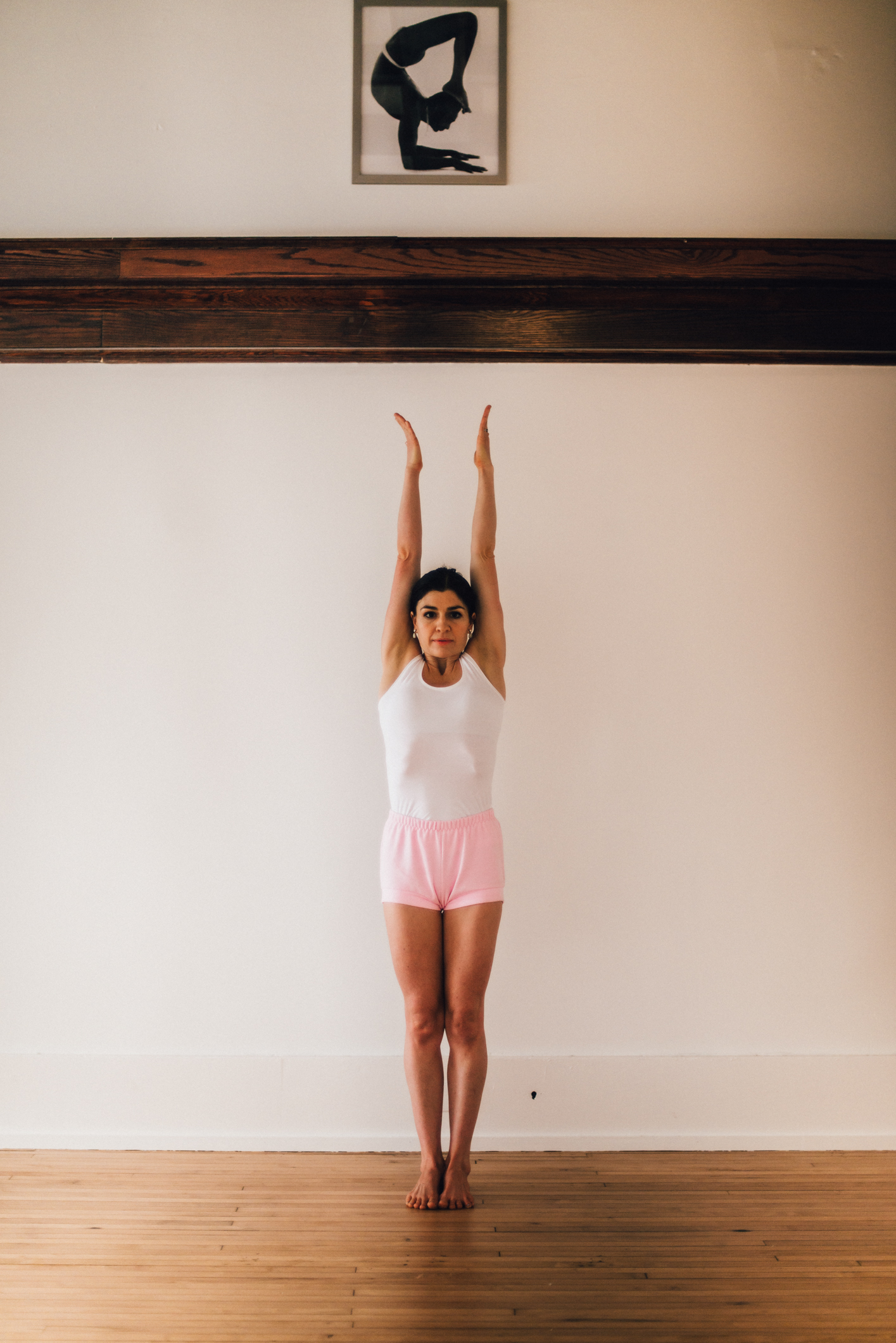 Standing postures are the foundation of the Iyengar method of yoga. In addition to developing awareness in action, they help improve muscular skeletal alignment.