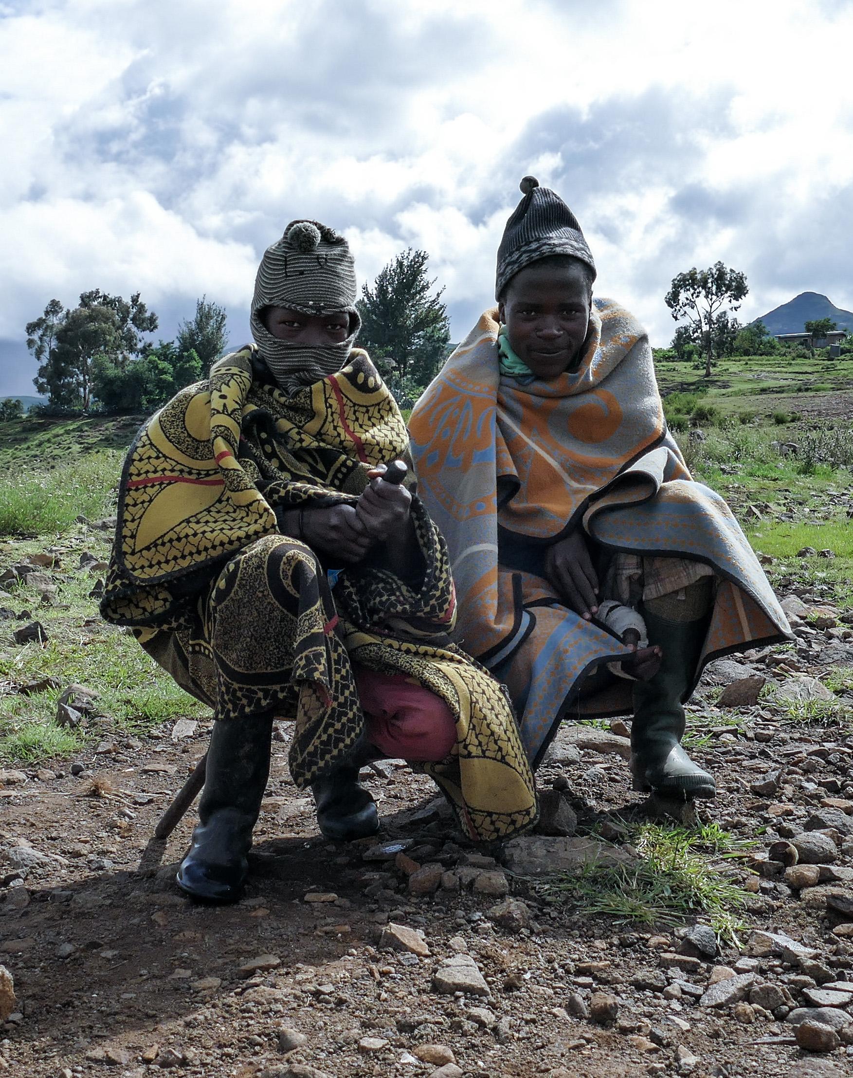 Basotho shepherds boys wearing traditional Basotho blankets