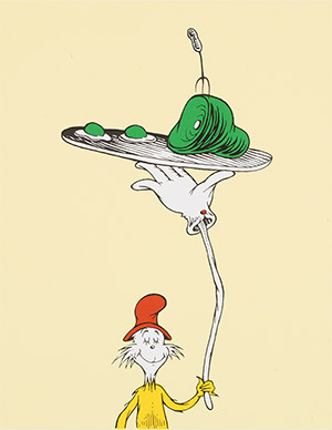Above are two examples that display Geisel's Surrealistic tendencies. Top:   A Man Who Has Made an Unwise Purchase   Bottom:    Inside Cover Illustration for Green Eggs and Ham
