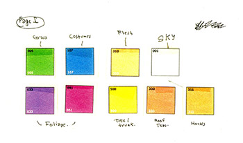 Example of the color charts Ted Geisel worked with creating his books.